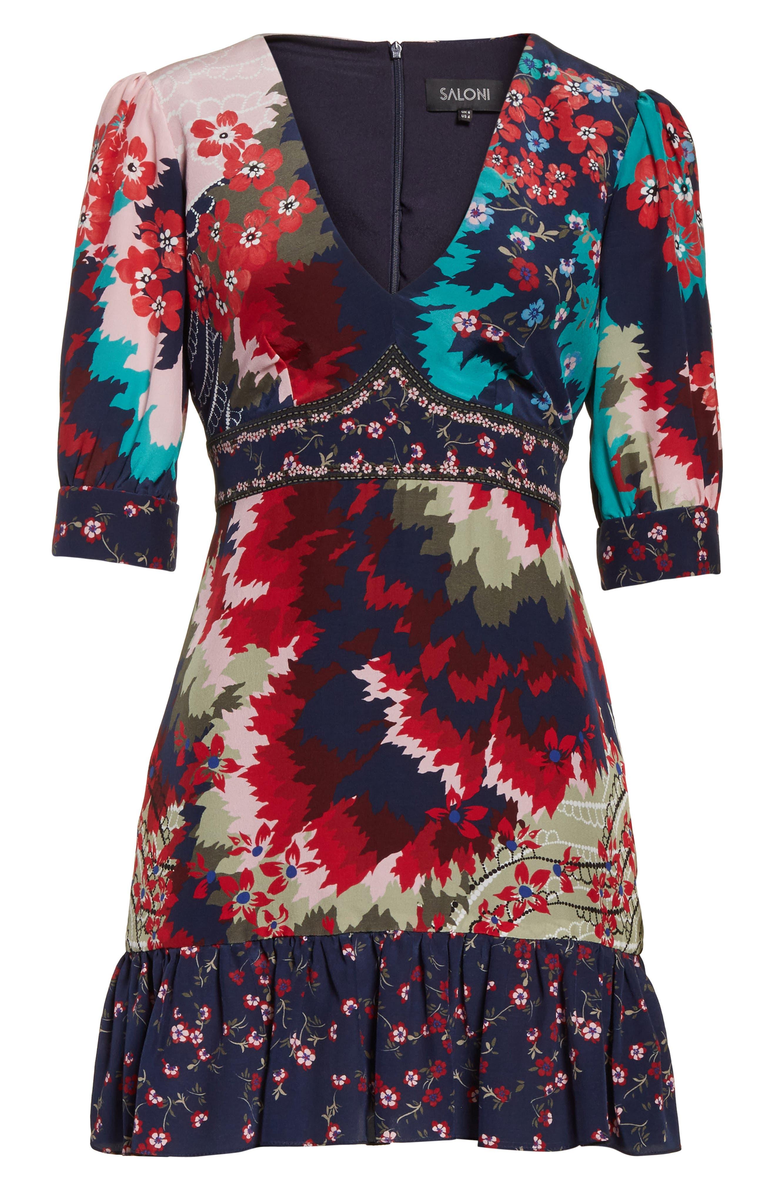 Alternate Image 6  - SALONI Vera-B Silk Minidress