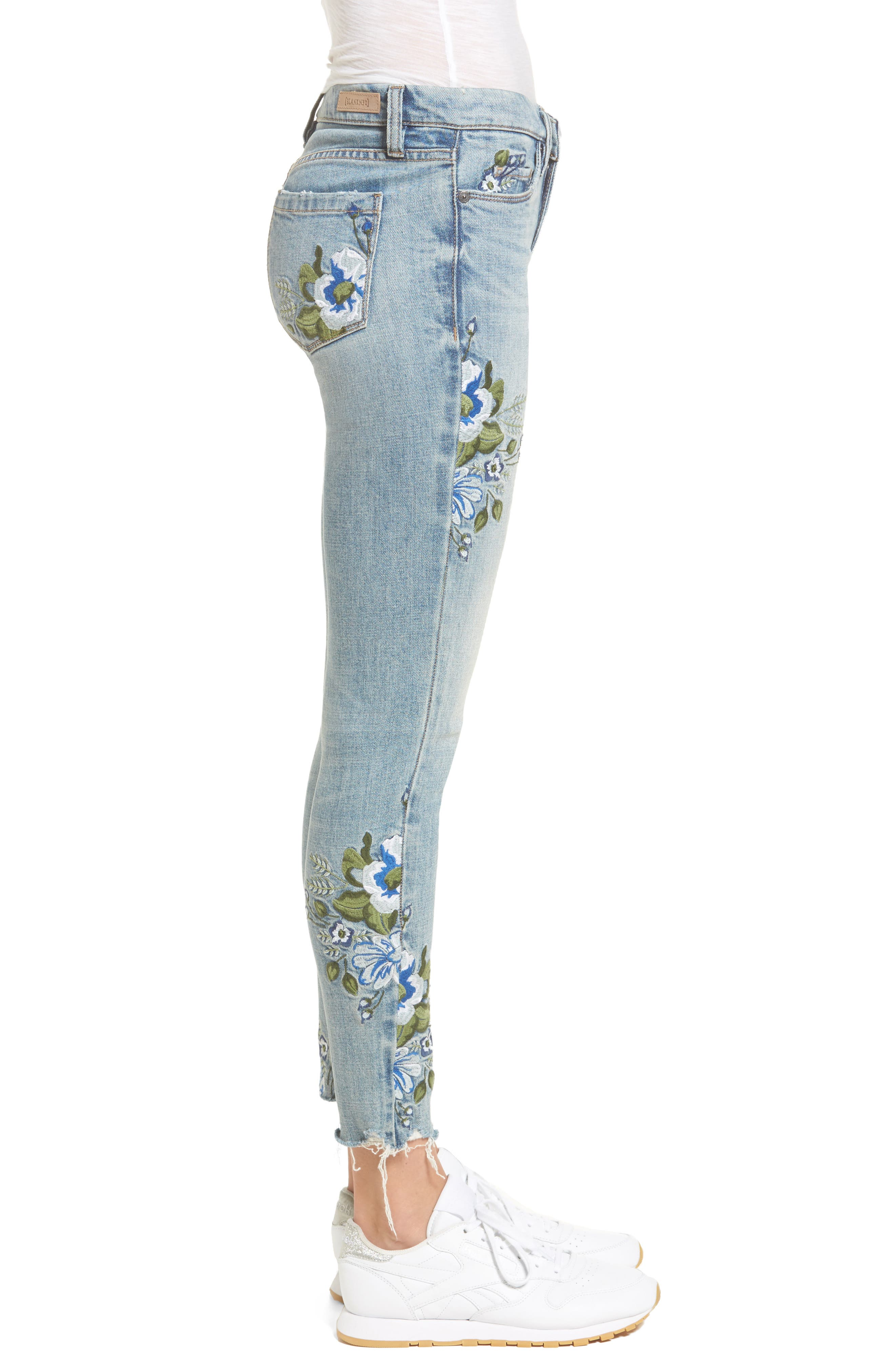 Alternate Image 3  - BLANKNYC Floral Embroidered Skinny Jeans (Back to Nature)
