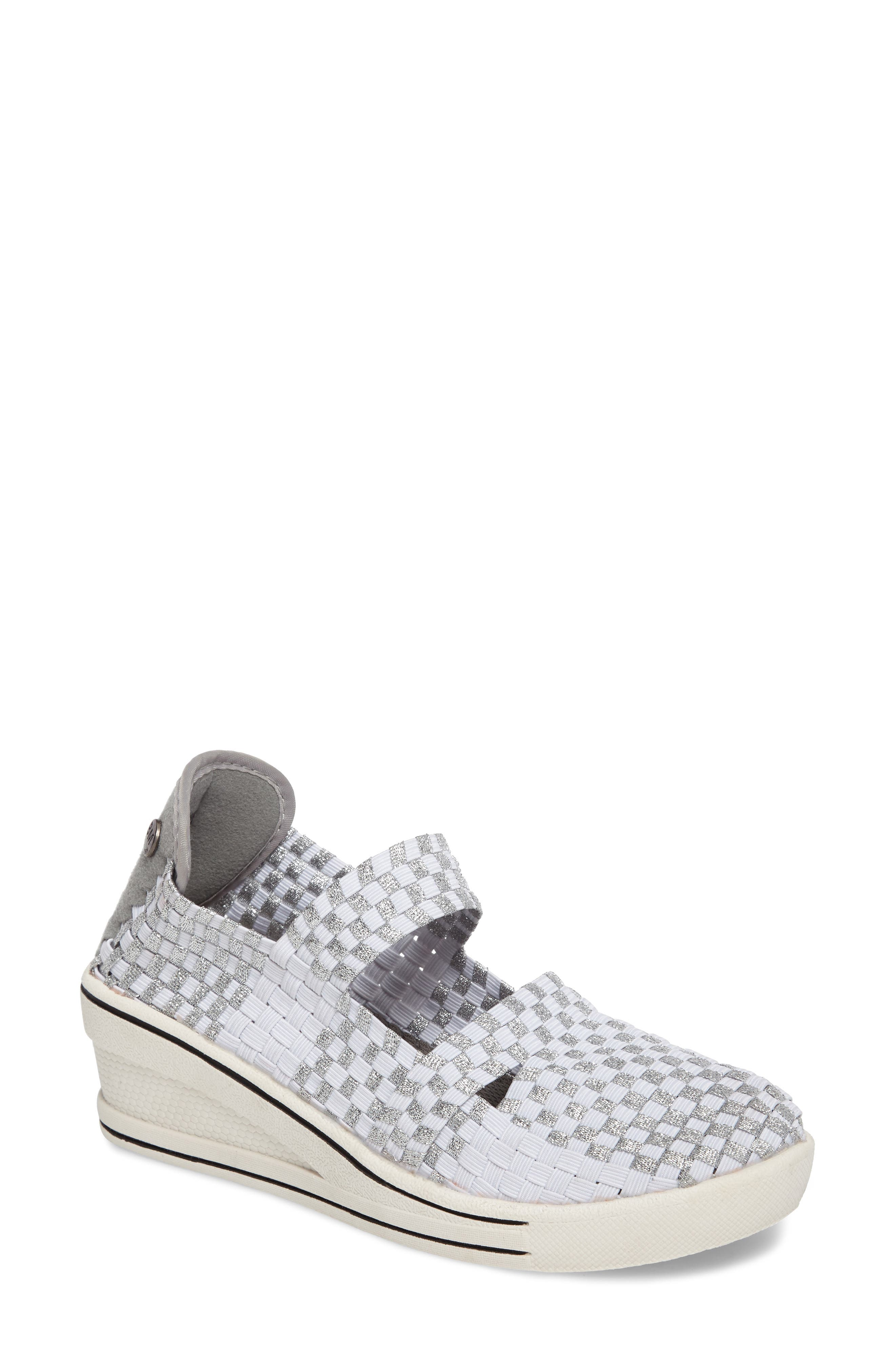 Frontier Woven Mary Jane Wedge,                             Main thumbnail 1, color,                             Metallic White/ Silver Fabric