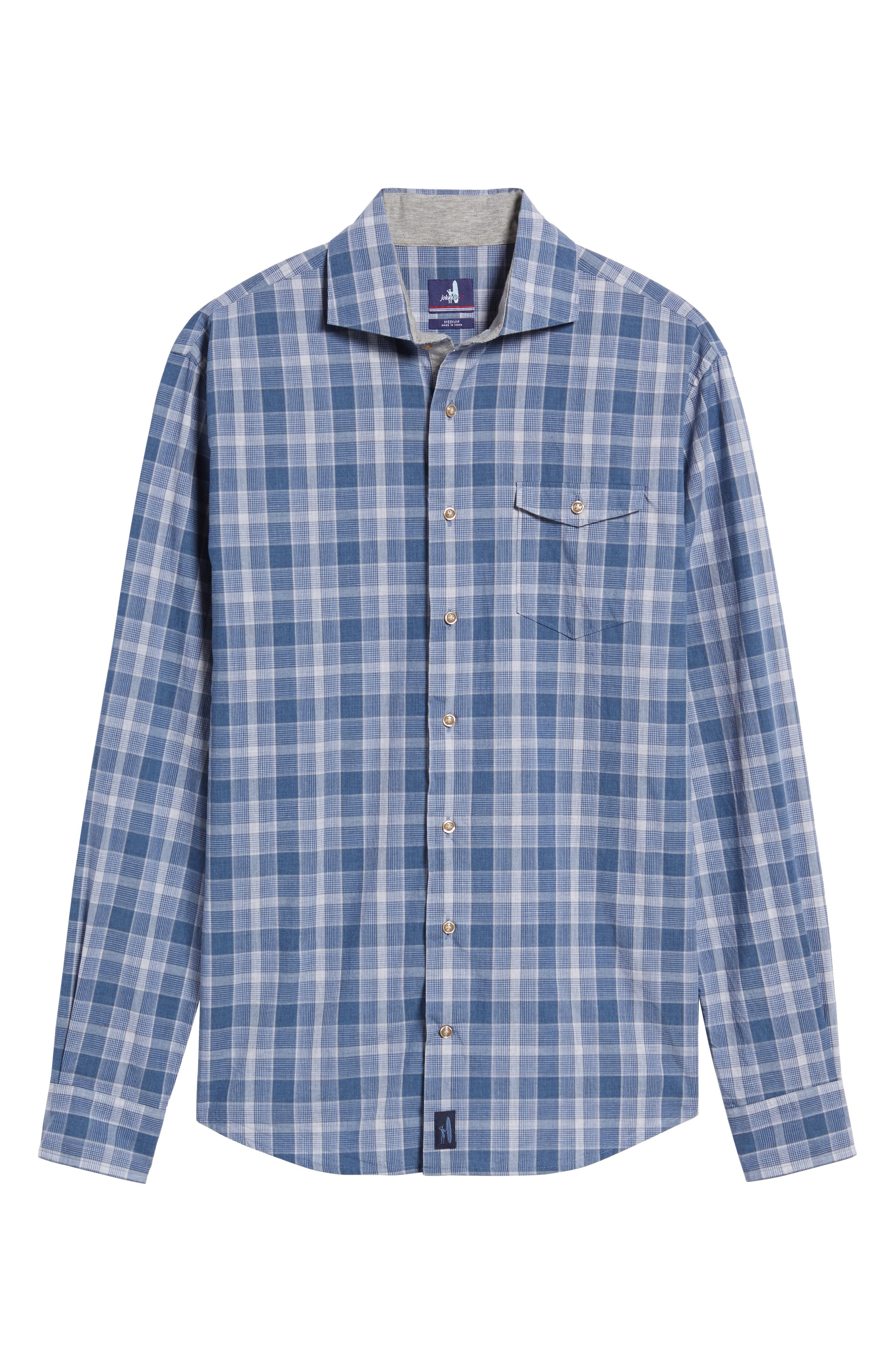 Highlands Classic Fit Plaid Sport Shirt,                             Alternate thumbnail 6, color,                             Abyss