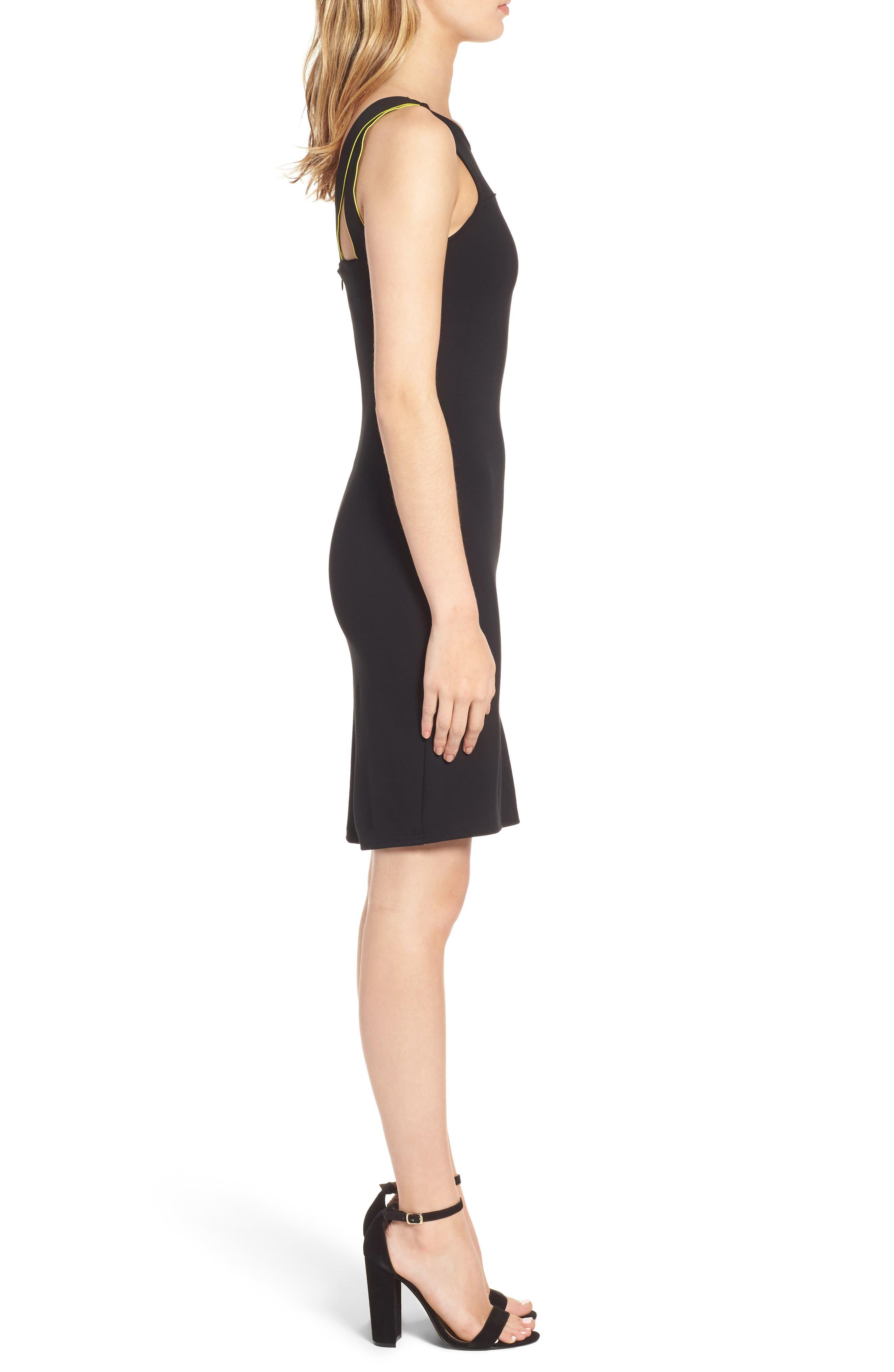 Mesh Inset Body-Con Dress,                             Alternate thumbnail 3, color,                             Black