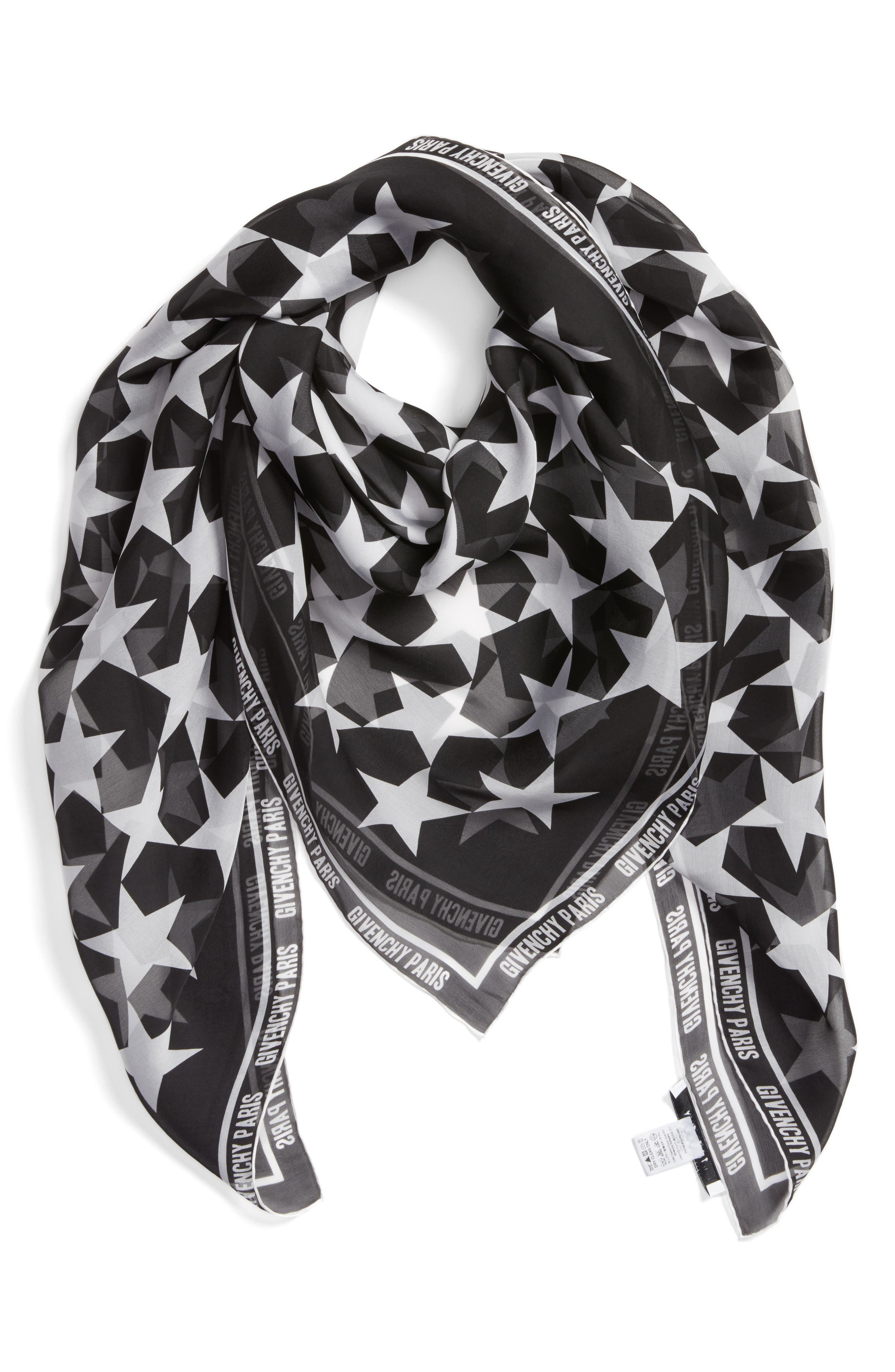74 Square Silk Scarf,                             Alternate thumbnail 2, color,                             Black/ White