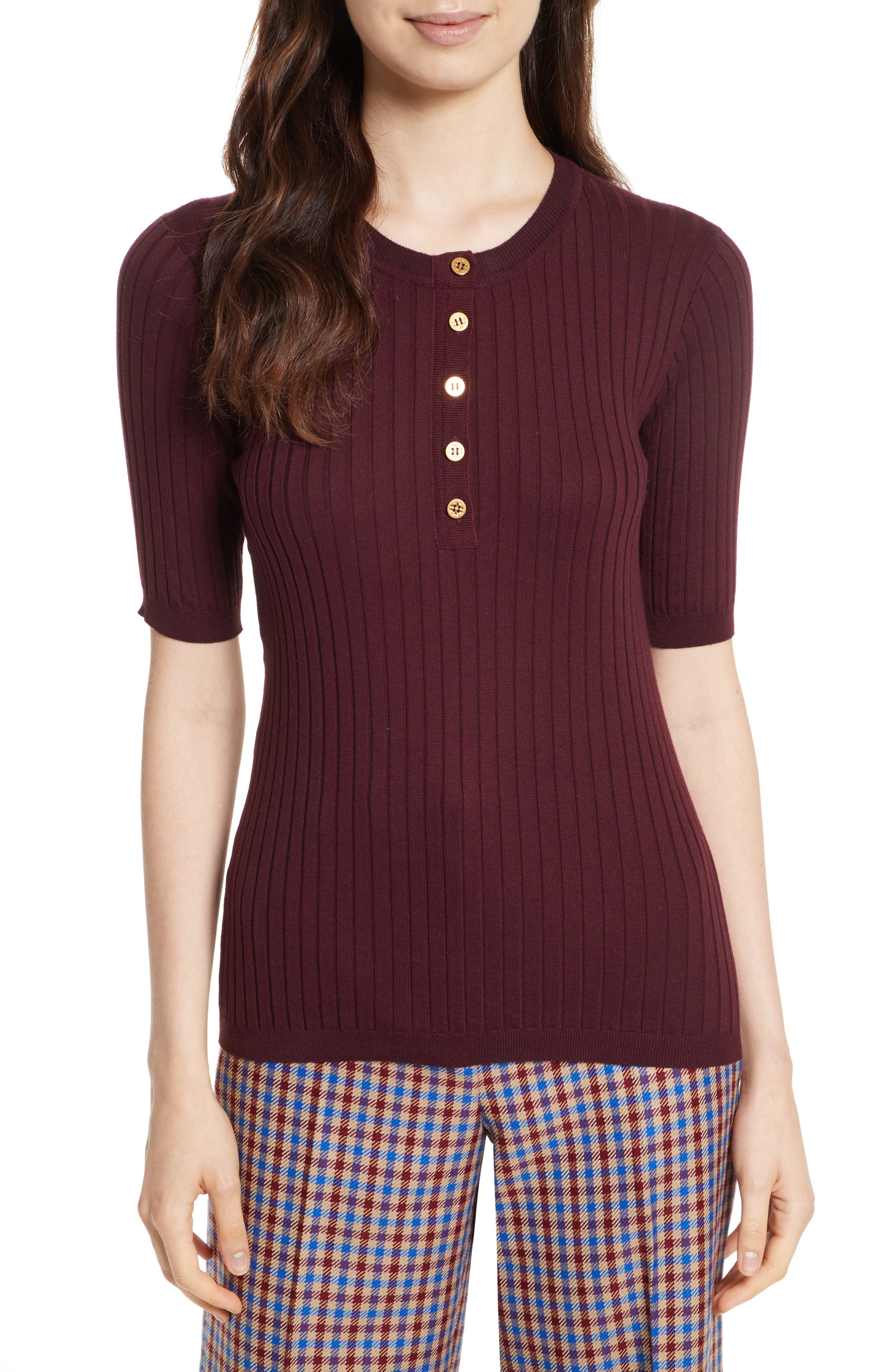 Main Image - Tory Burch Ribbed Cotton & Cashmere Henley