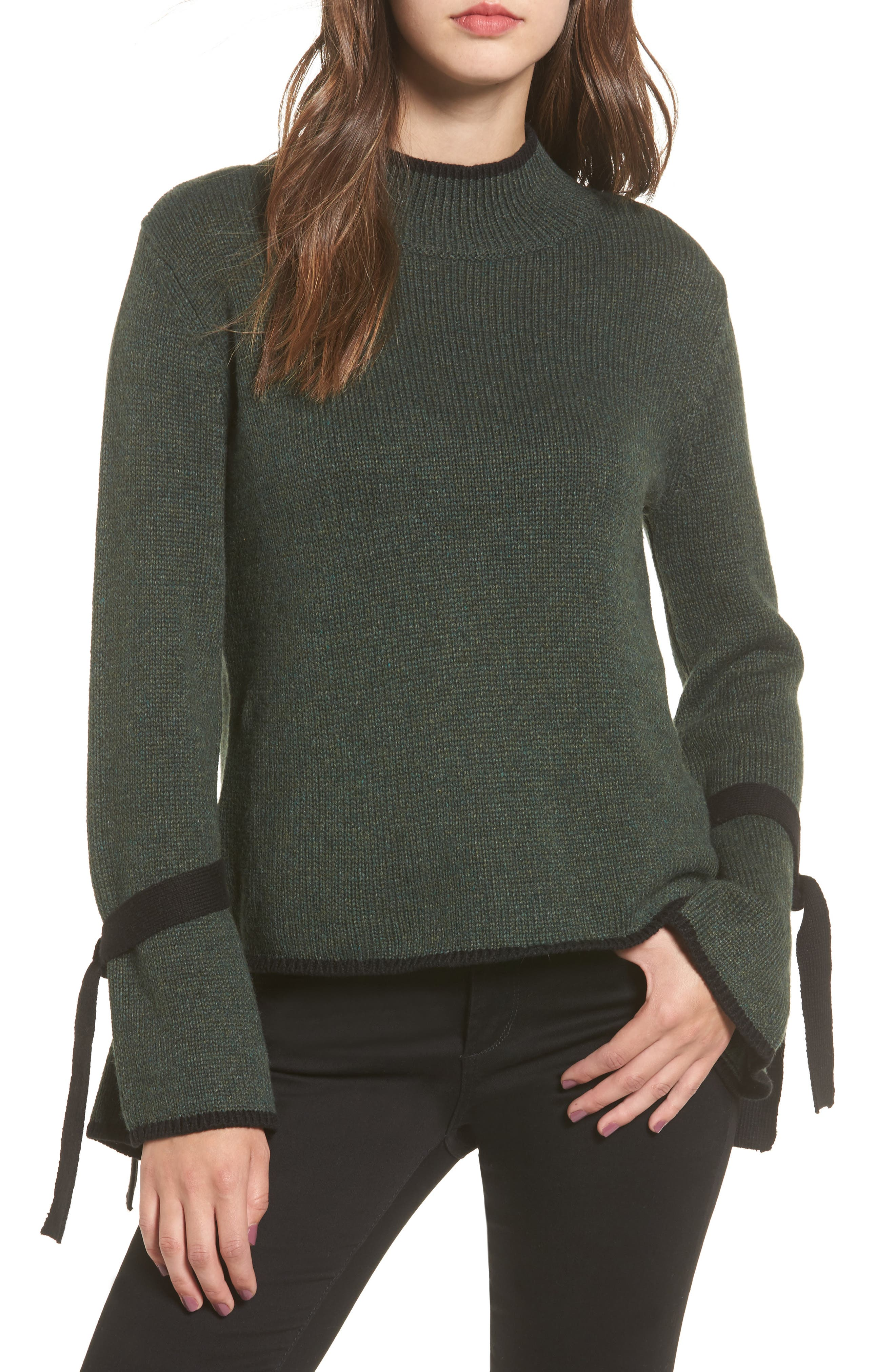 Tie Sleeve Sweater,                         Main,                         color, Green Wood