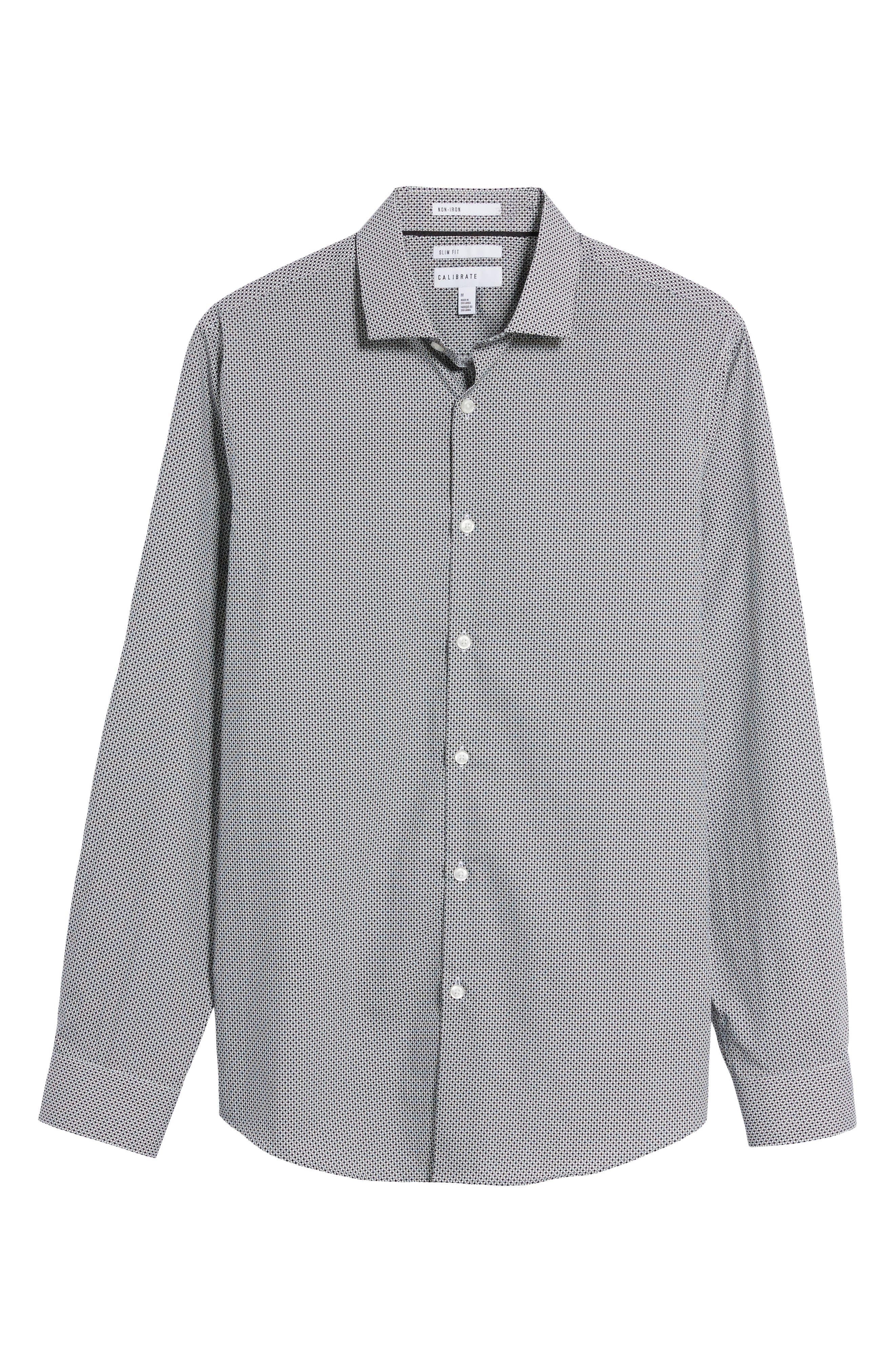 Dot Print Sport Shirt,                             Alternate thumbnail 6, color,                             White Black Mini Circle Print