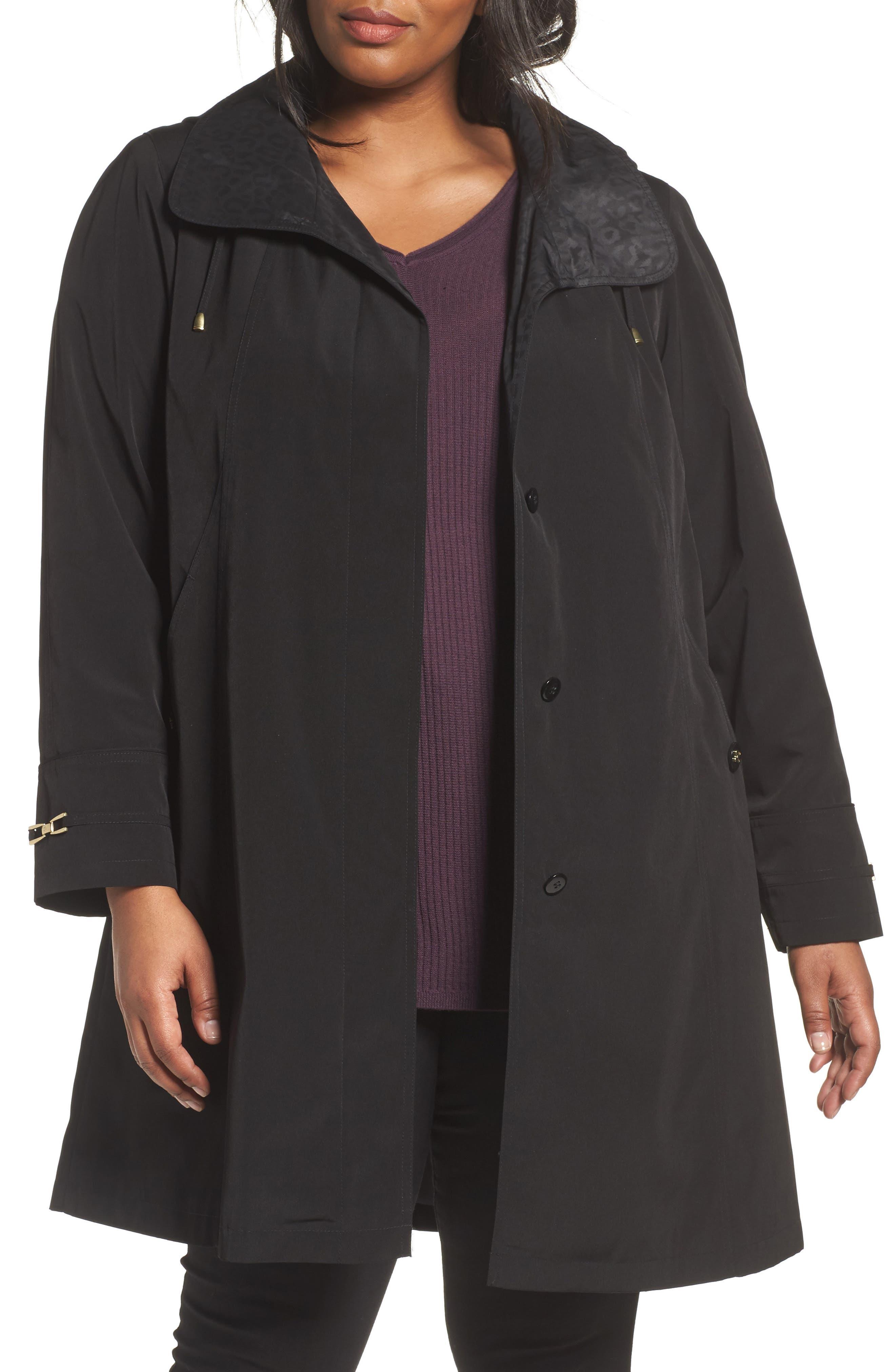 Main Image - Gallery Long Silk Look Raincoat (Plus Size)