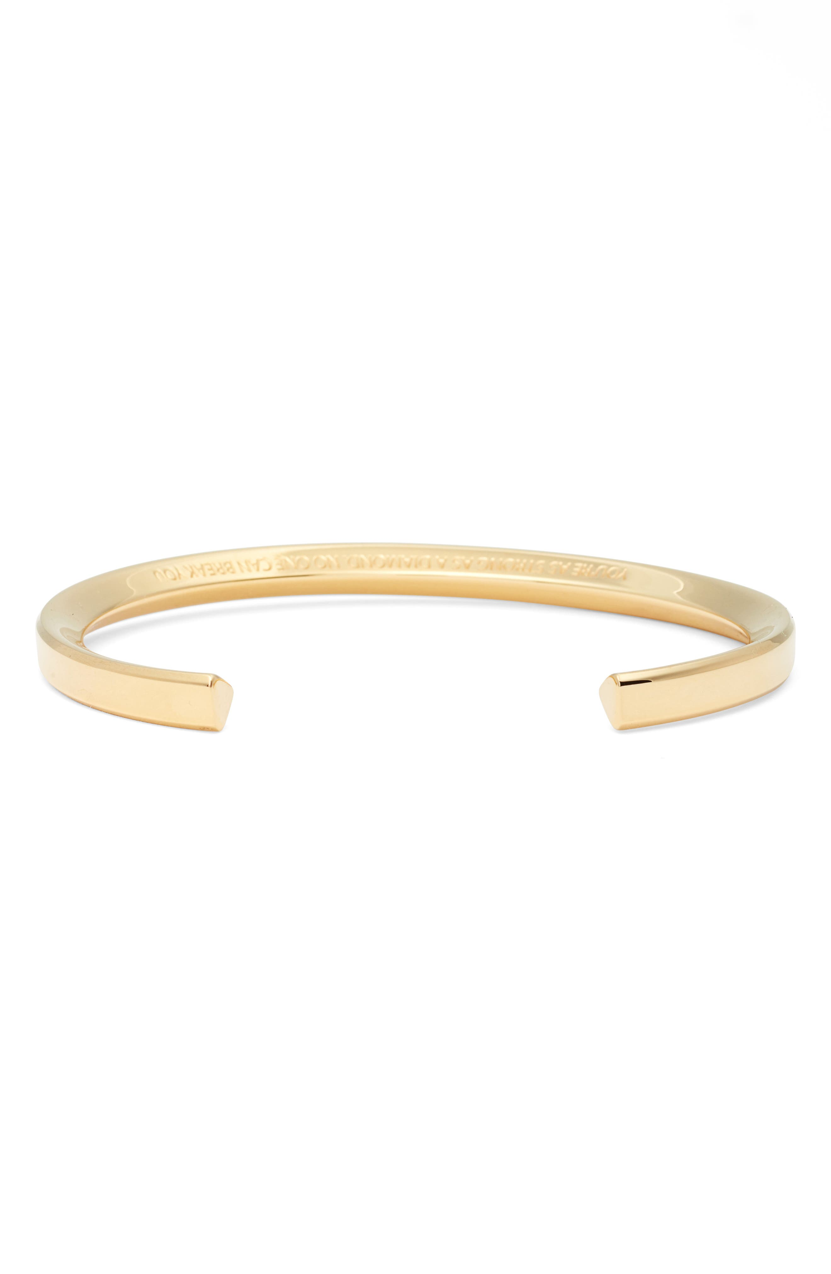 You're as Strong as a Diamond Cuff,                             Alternate thumbnail 2, color,                             Gold