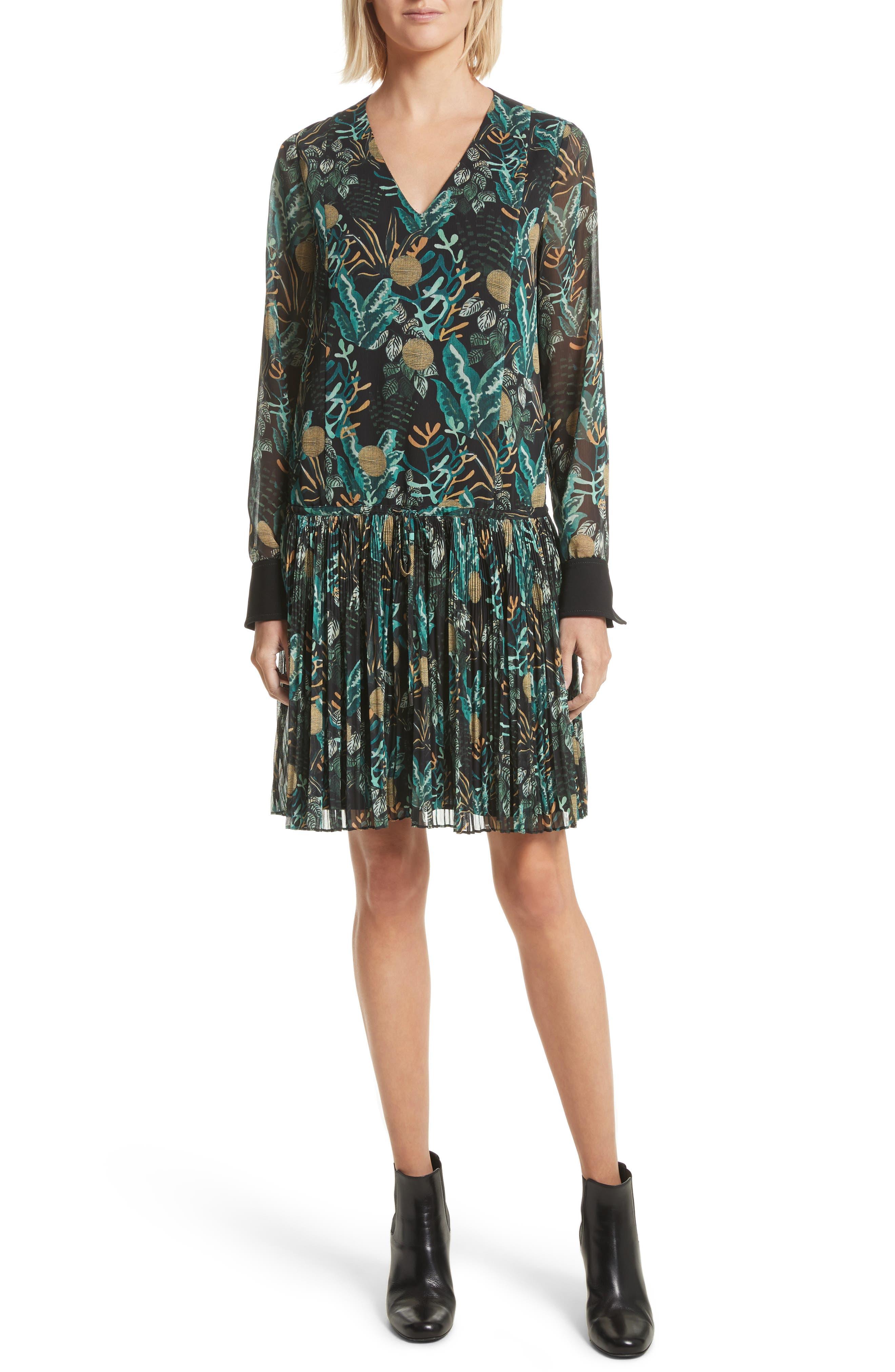Print Drop Waist Drawstring Dress,                         Main,                         color, Black Multi