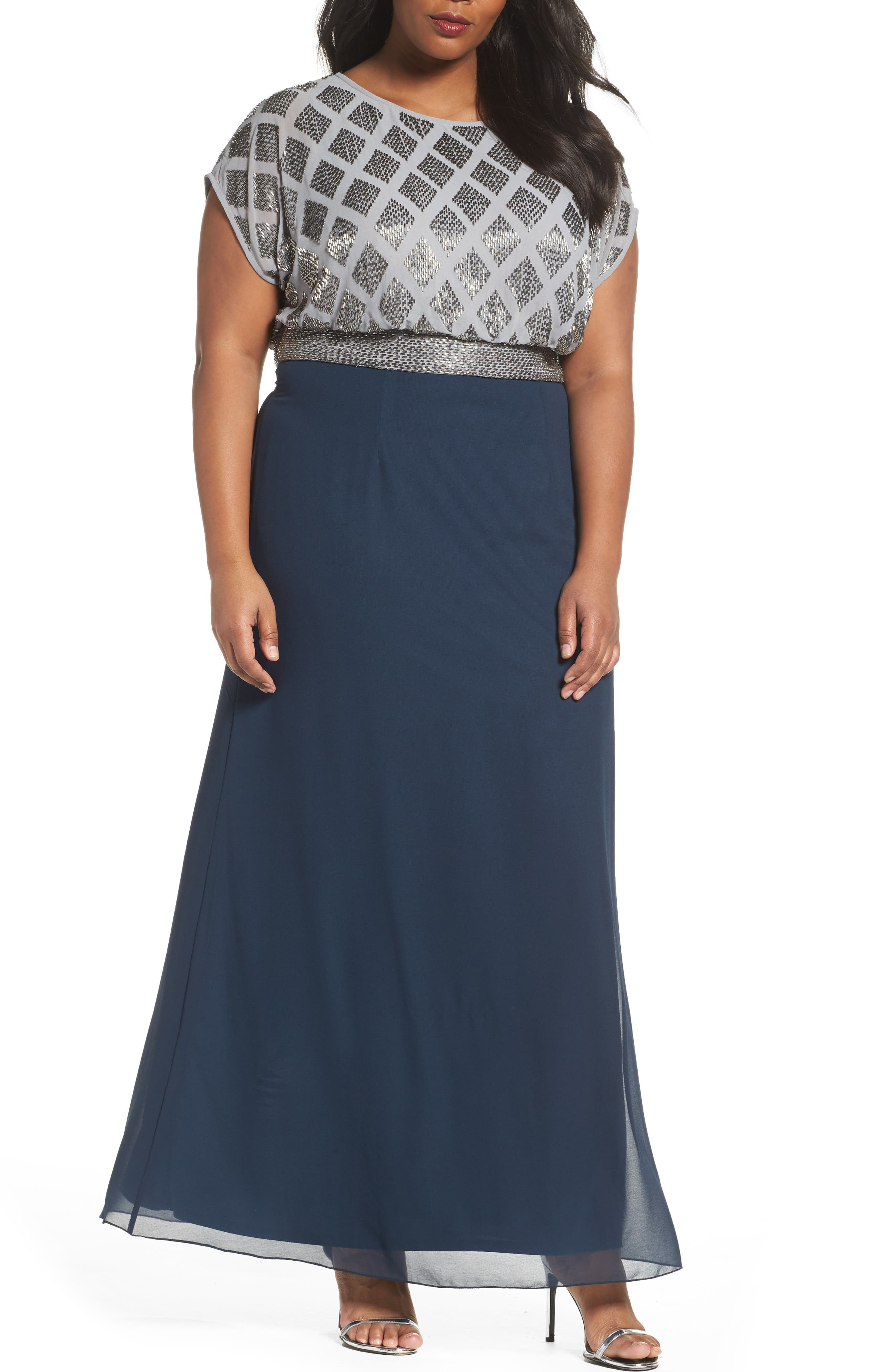 Beaded Gown,                         Main,                         color, Silver/ Navy
