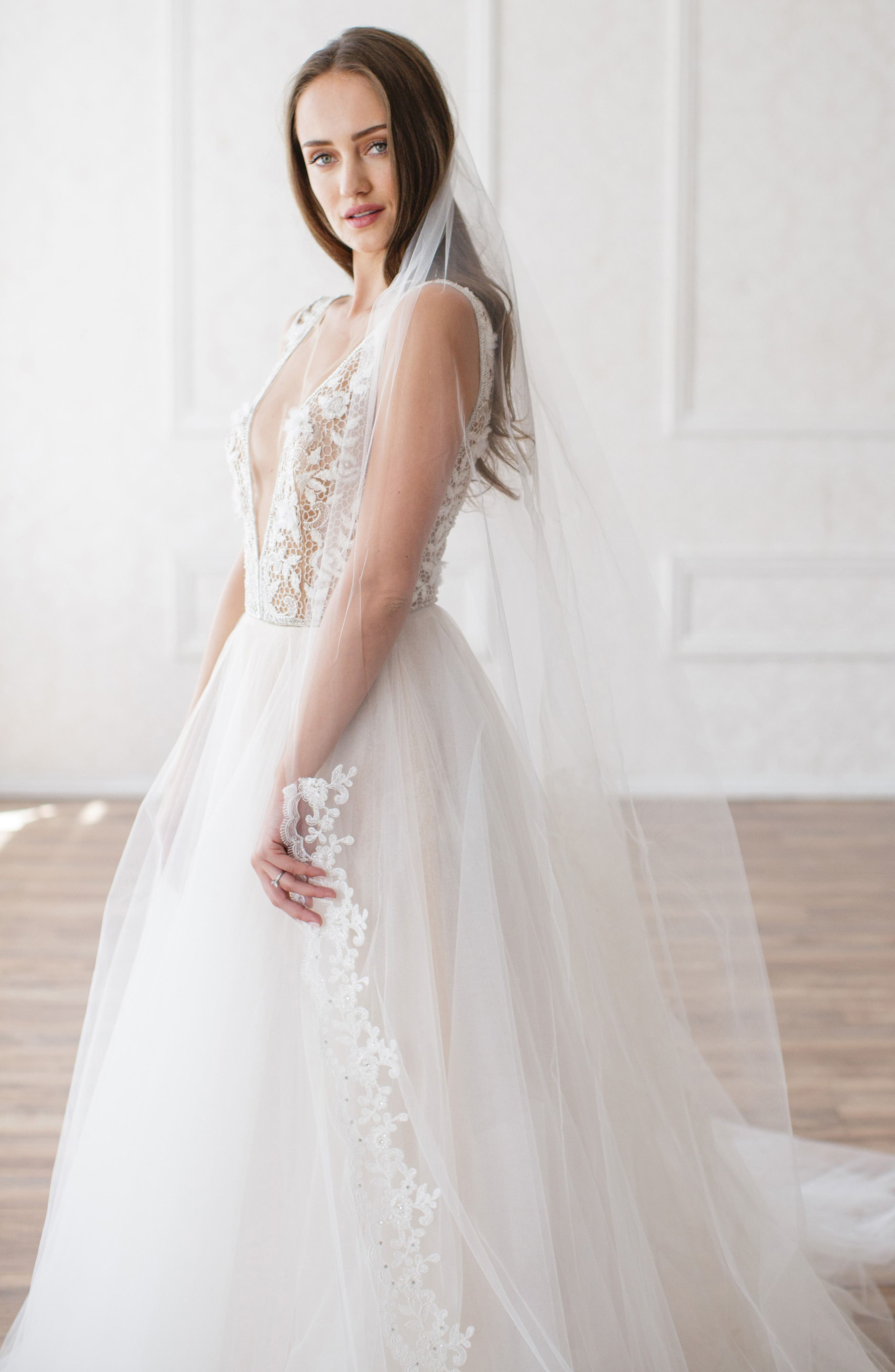 Ophelia Embroidered Cathedral Veil,                         Main,                         color, Ivory