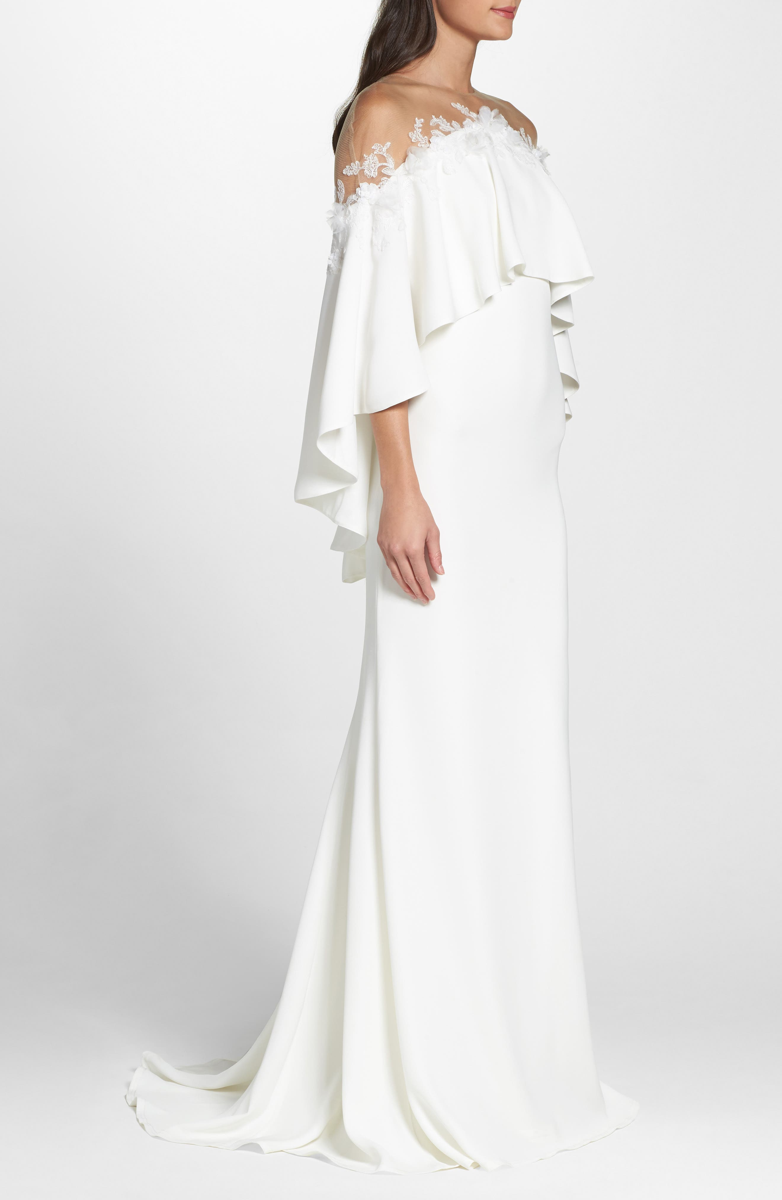 Off the Shoulder Popover Gown,                             Alternate thumbnail 4, color,                             Ivory