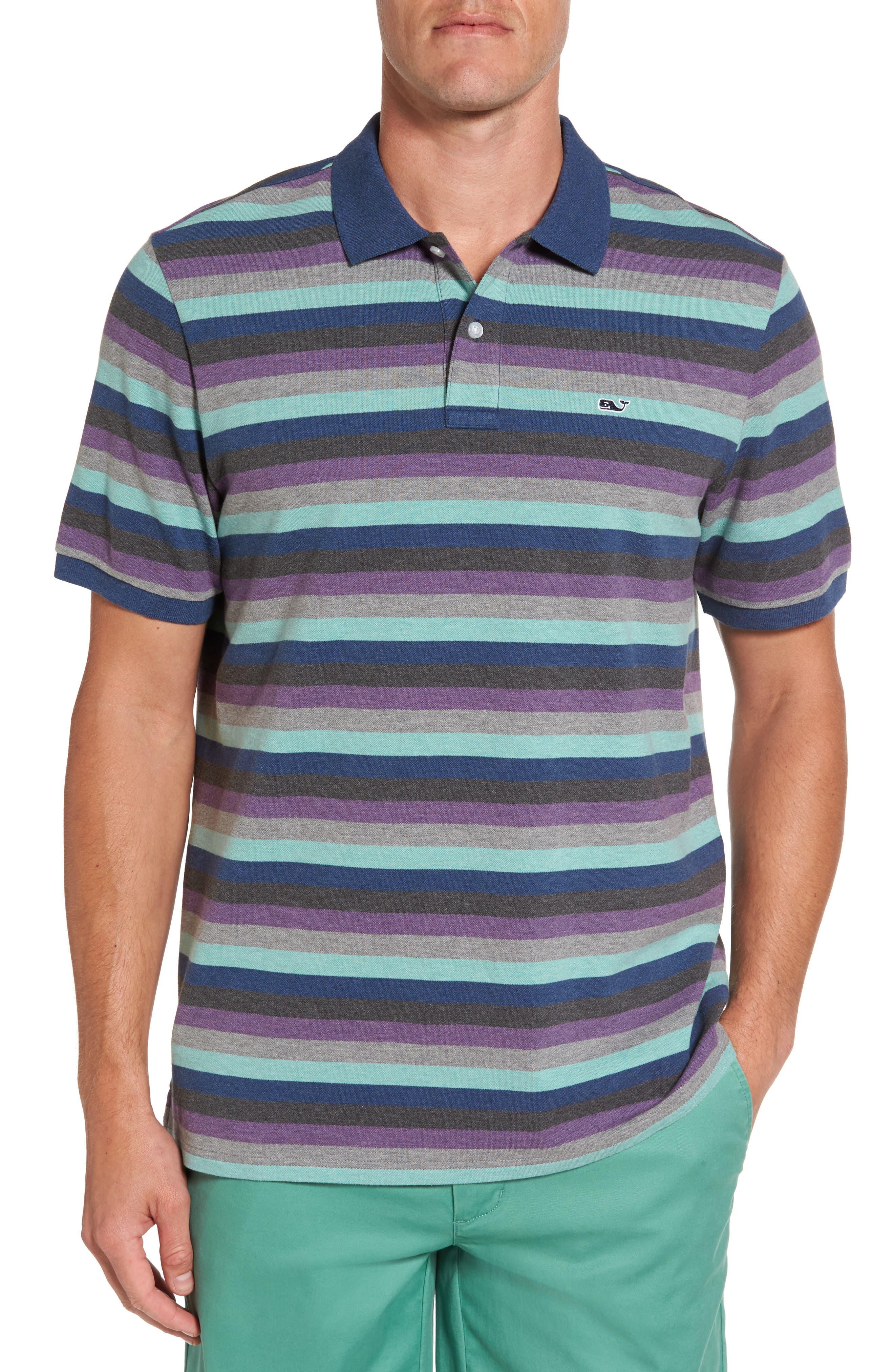 Striped Polo,                         Main,                         color, Multi Grey