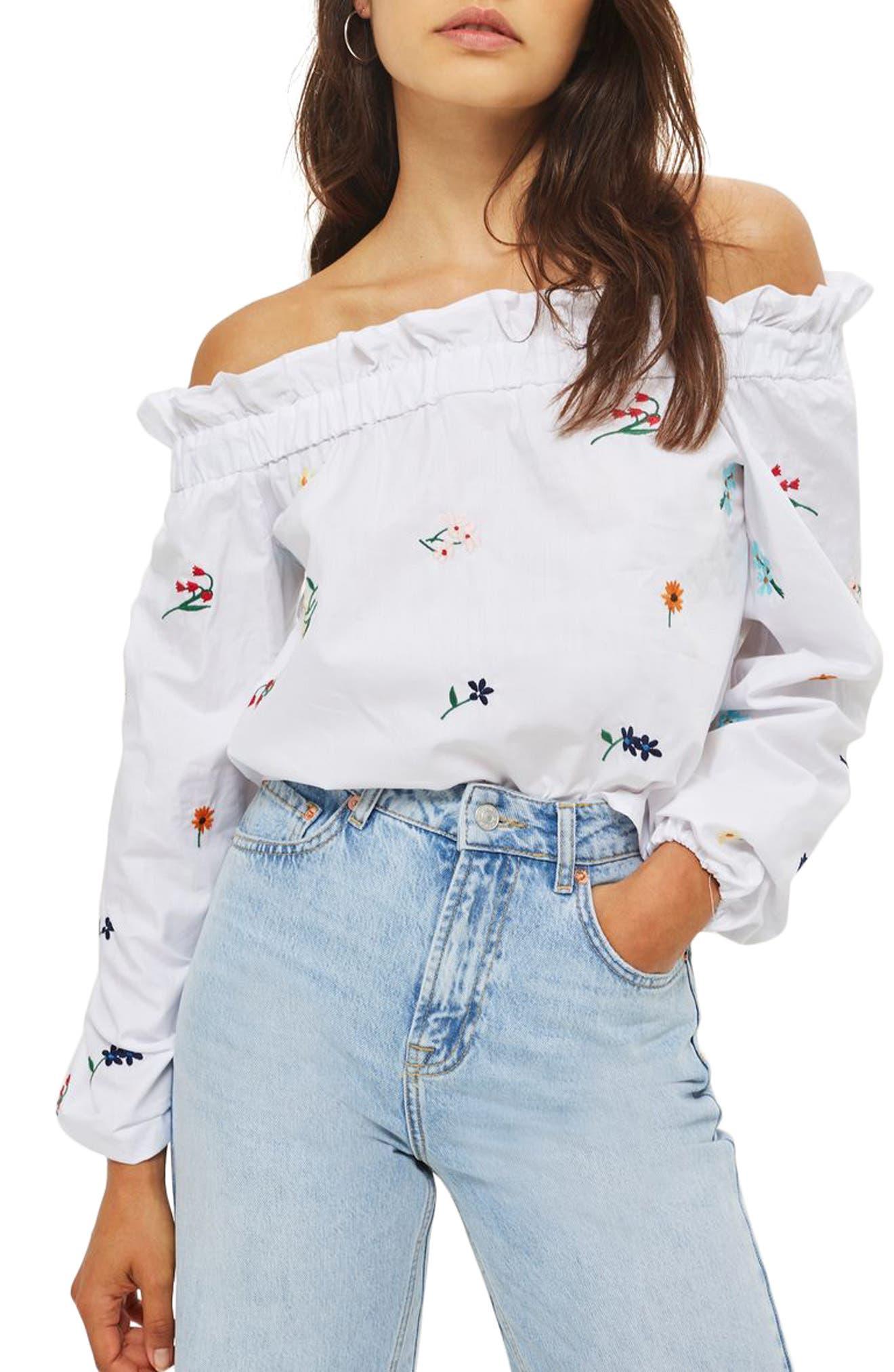 Topshop Embroidered Poplin Off the Shoulder Top