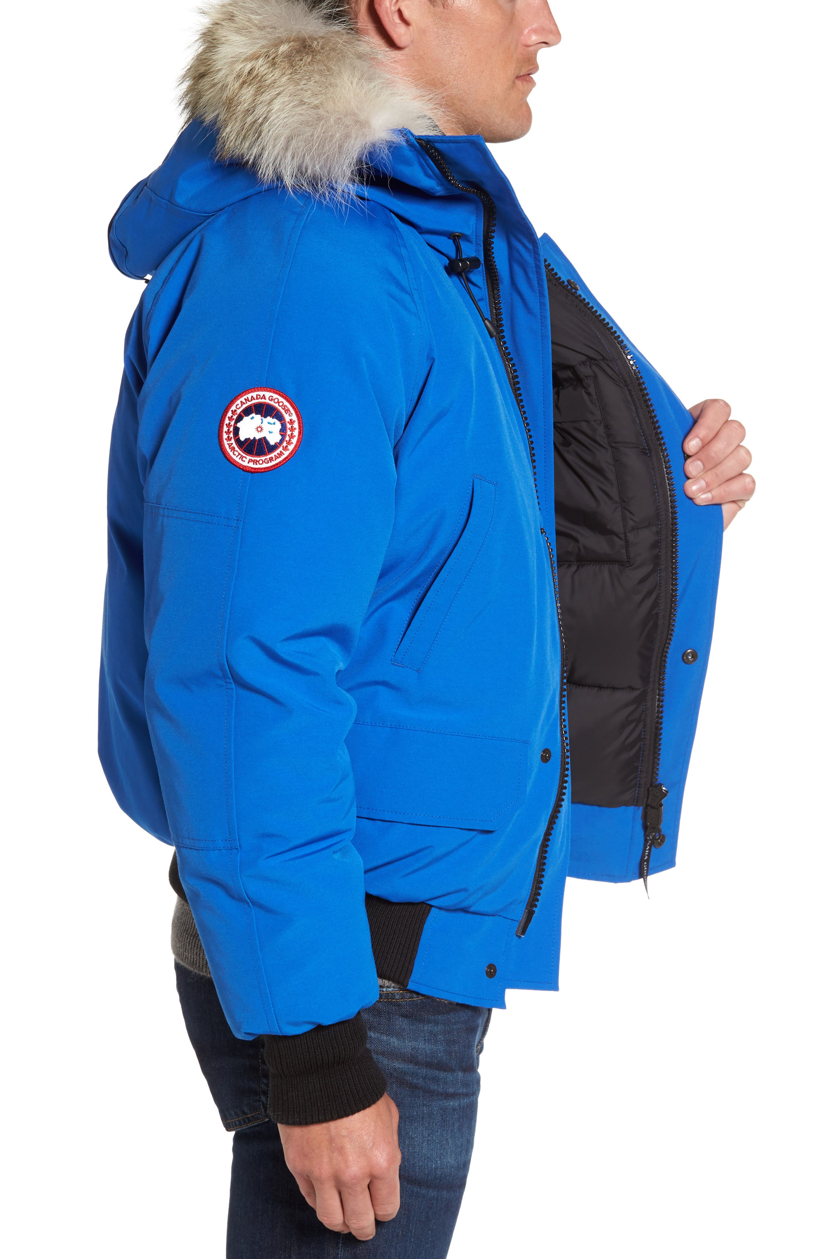 PBI Chilliwack Down Bomber Jacket with Genuine Coyote Trim,                             Alternate thumbnail 4, color,                             Royal Blue