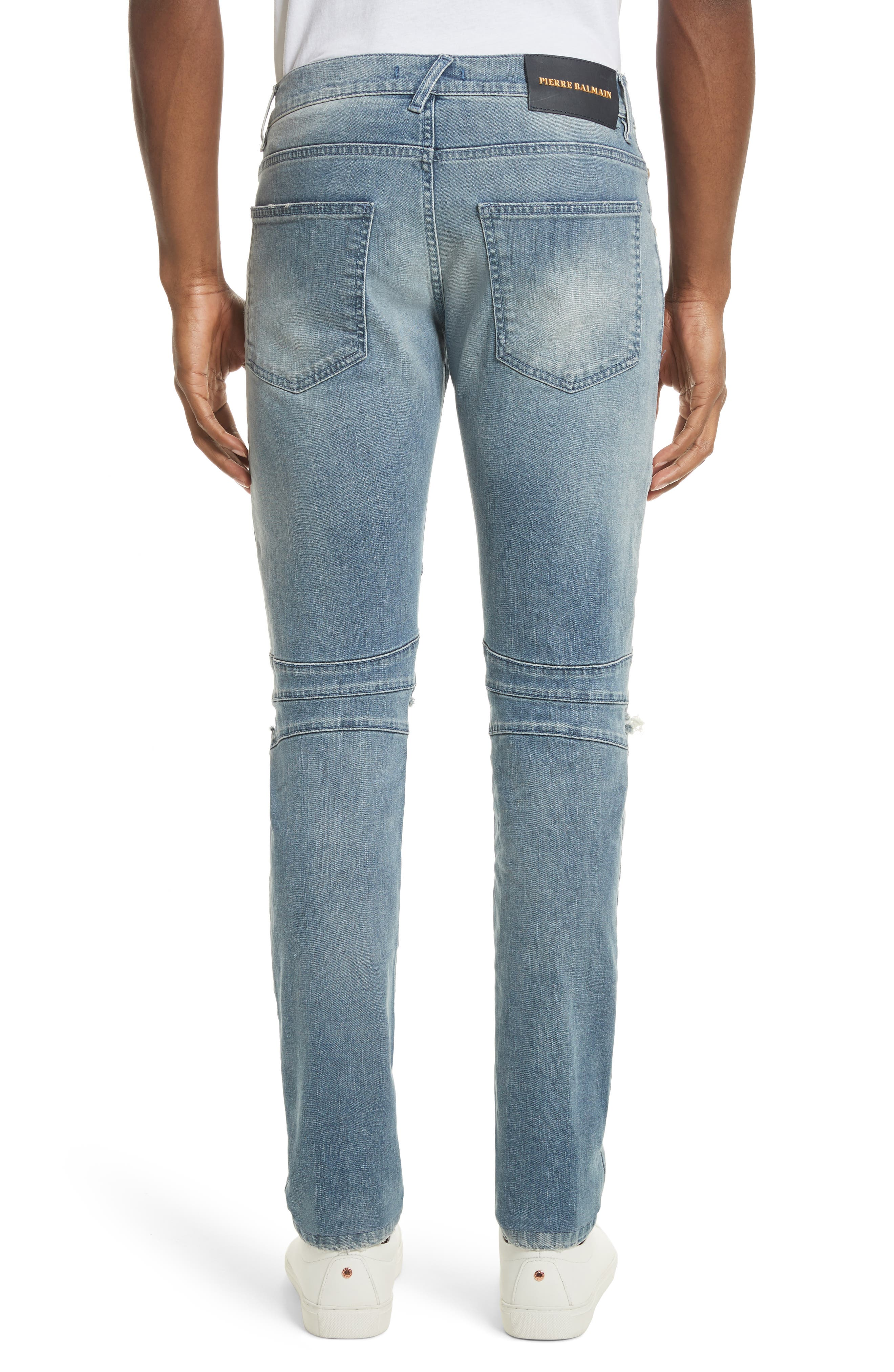 Slit Knee Jeans,                             Alternate thumbnail 2, color,                             Blue Denim