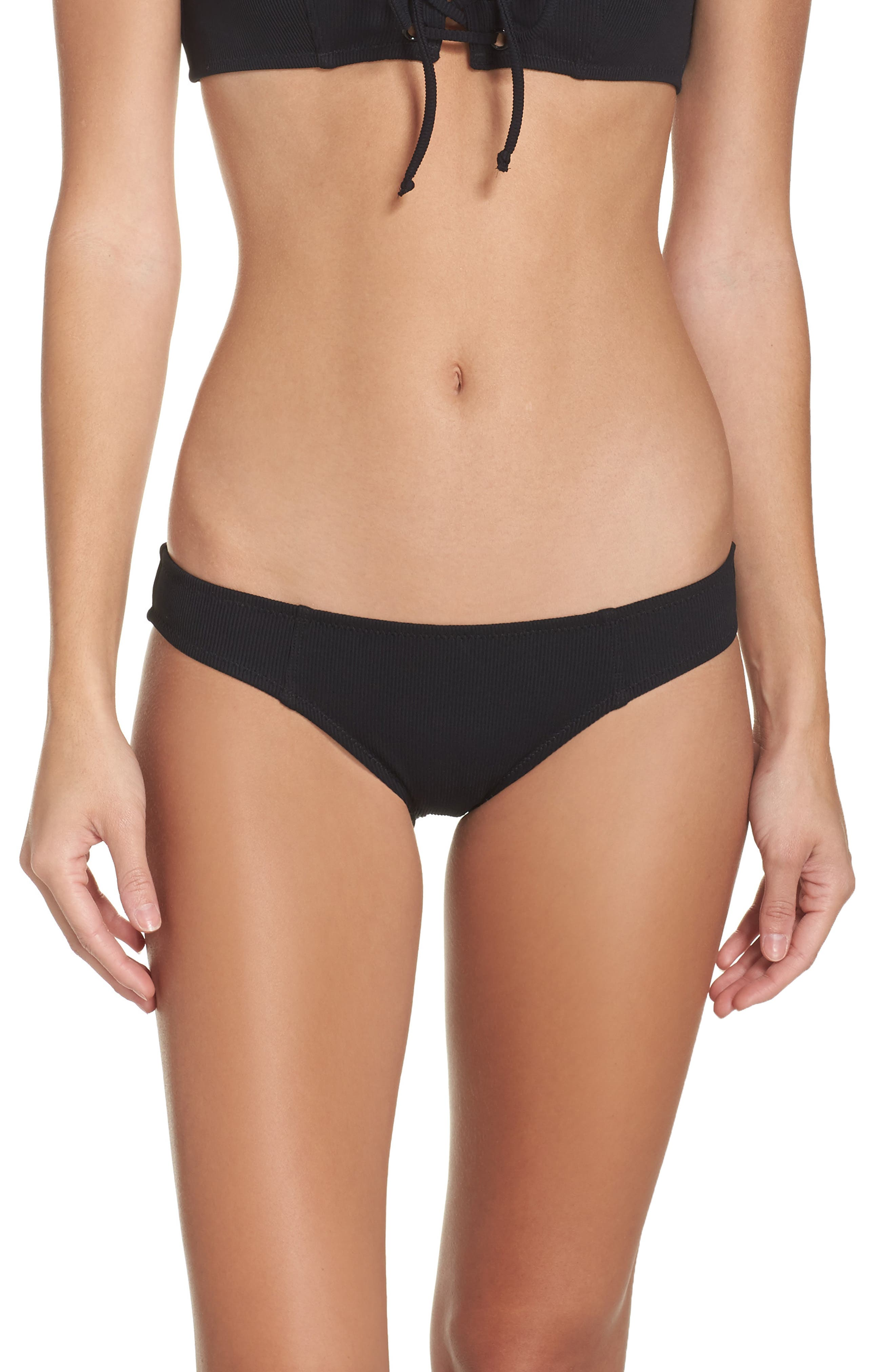 Isabella Bikini Bottoms,                         Main,                         color, Black Rib