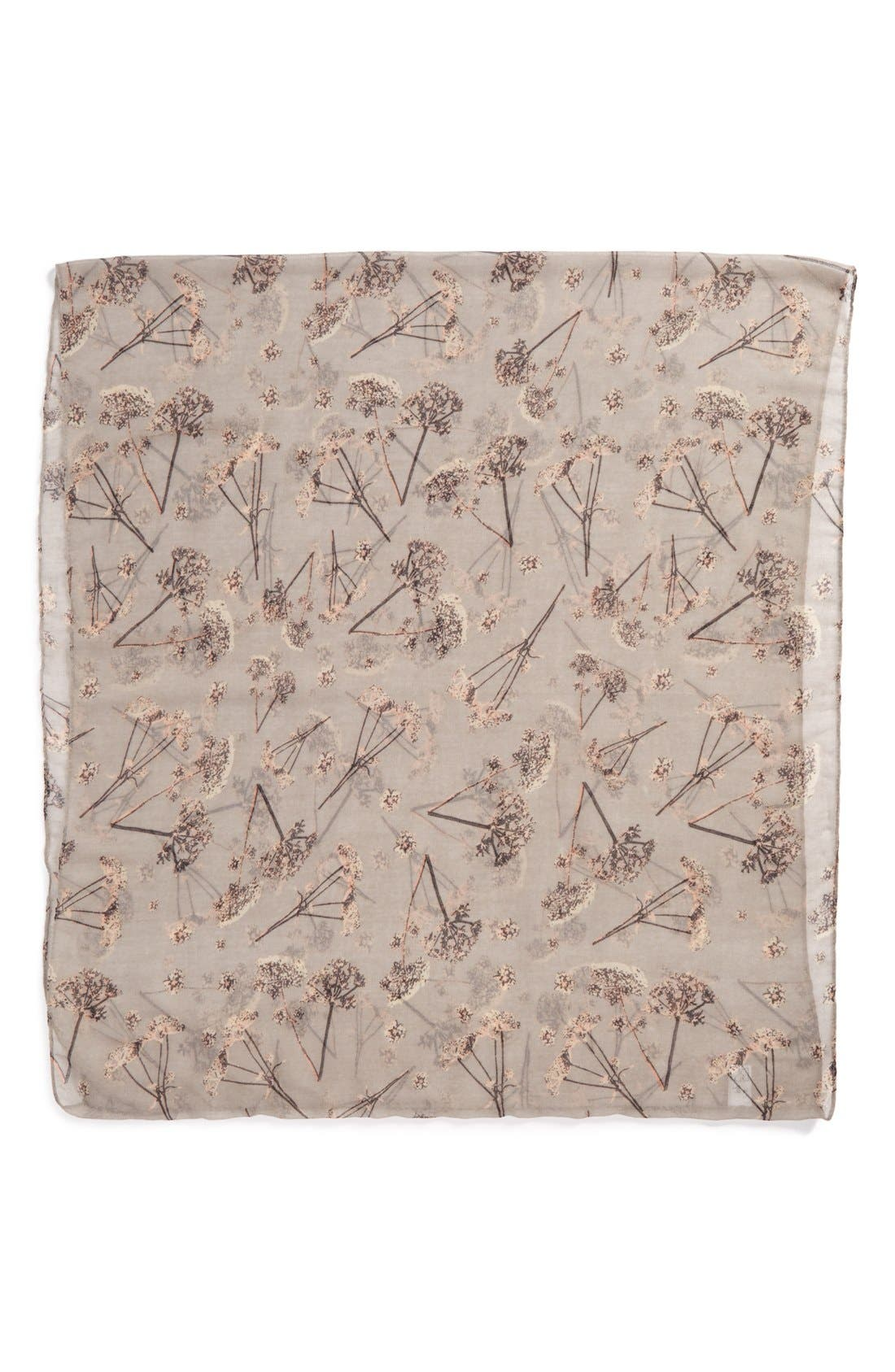 Dandelion Print Infinity Scarf,                             Alternate thumbnail 2, color,                             Grey