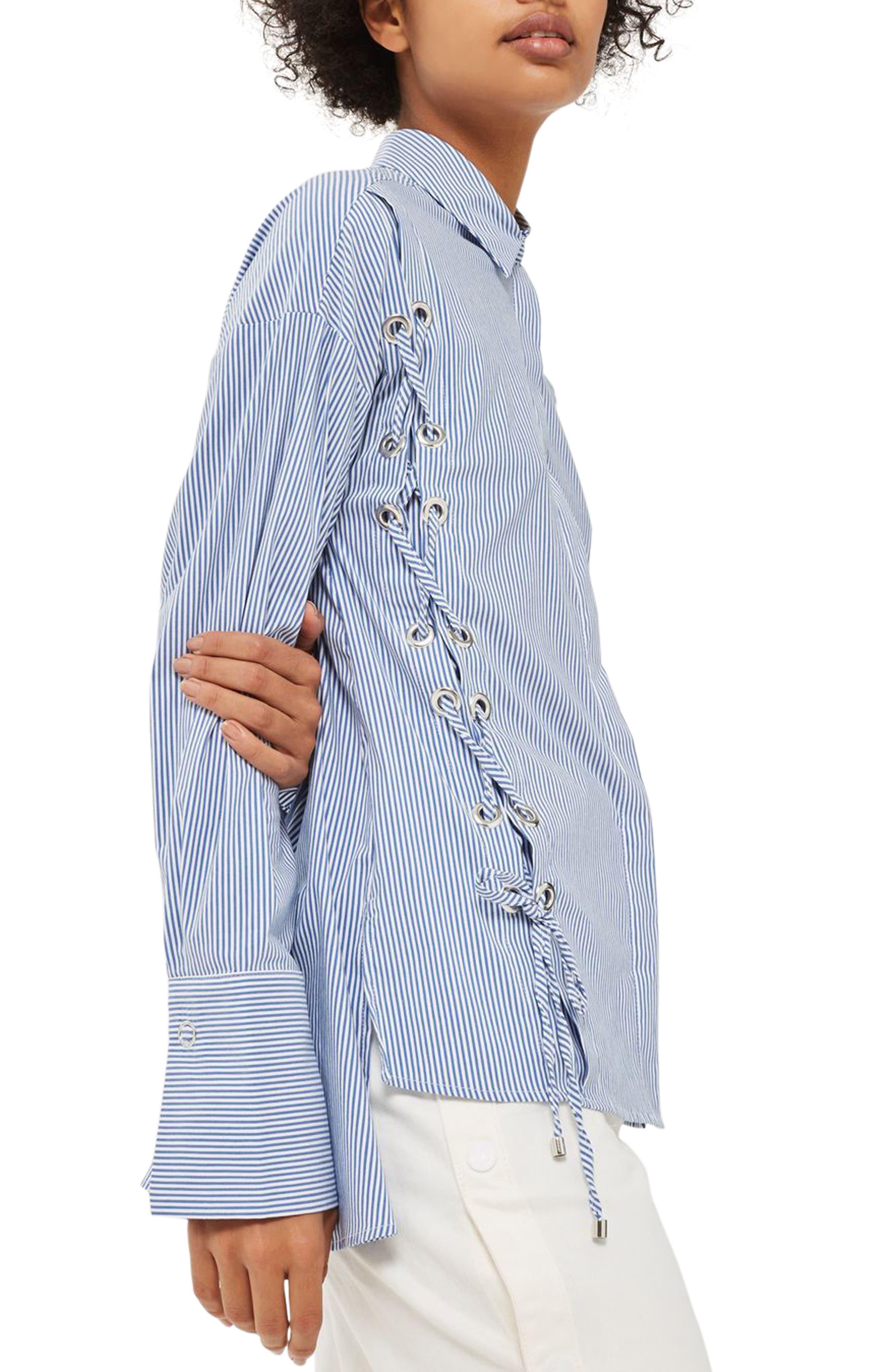 Side Lace-Up Shirt,                             Main thumbnail 1, color,                             Blue Multi