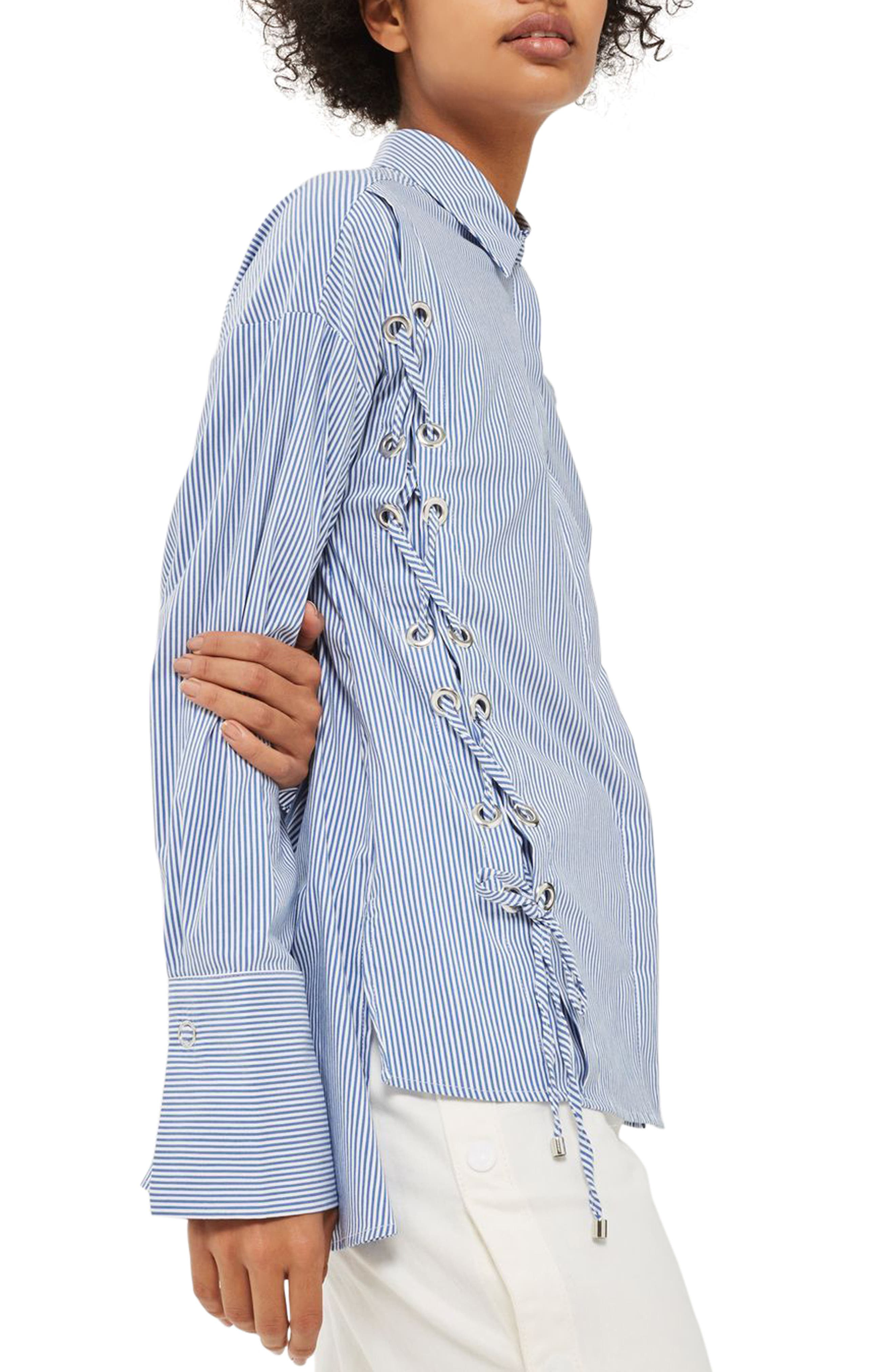 Side Lace-Up Shirt,                         Main,                         color, Blue Multi