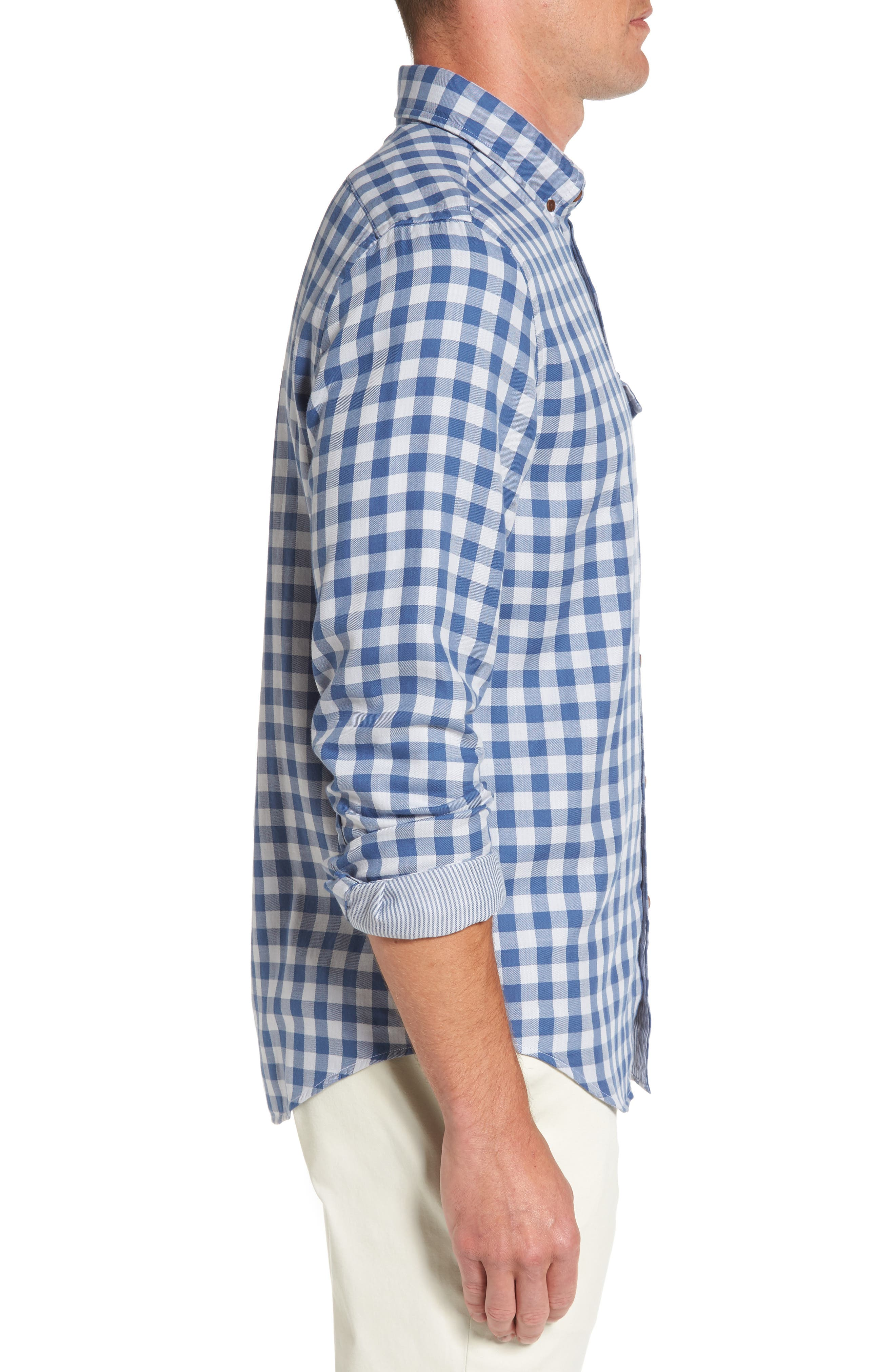 Crosby Slim Blue Heron Gingham Sport Shirt,                             Alternate thumbnail 3, color,                             Moonshine