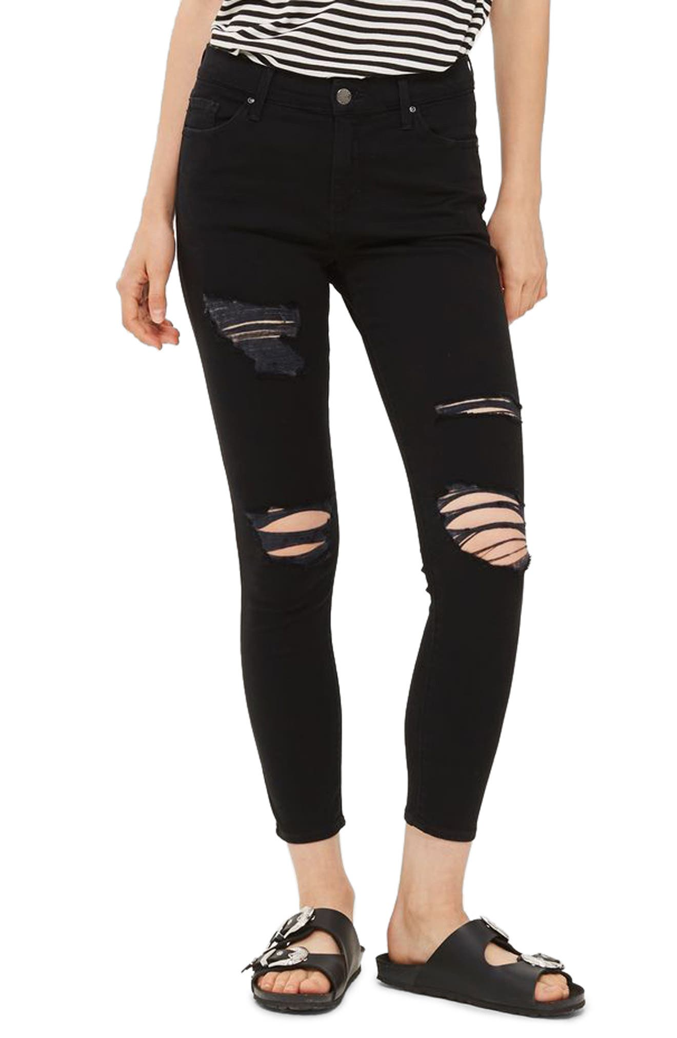 TOPSHOP Leigh Super Ripped High Waist Skinny Jeans
