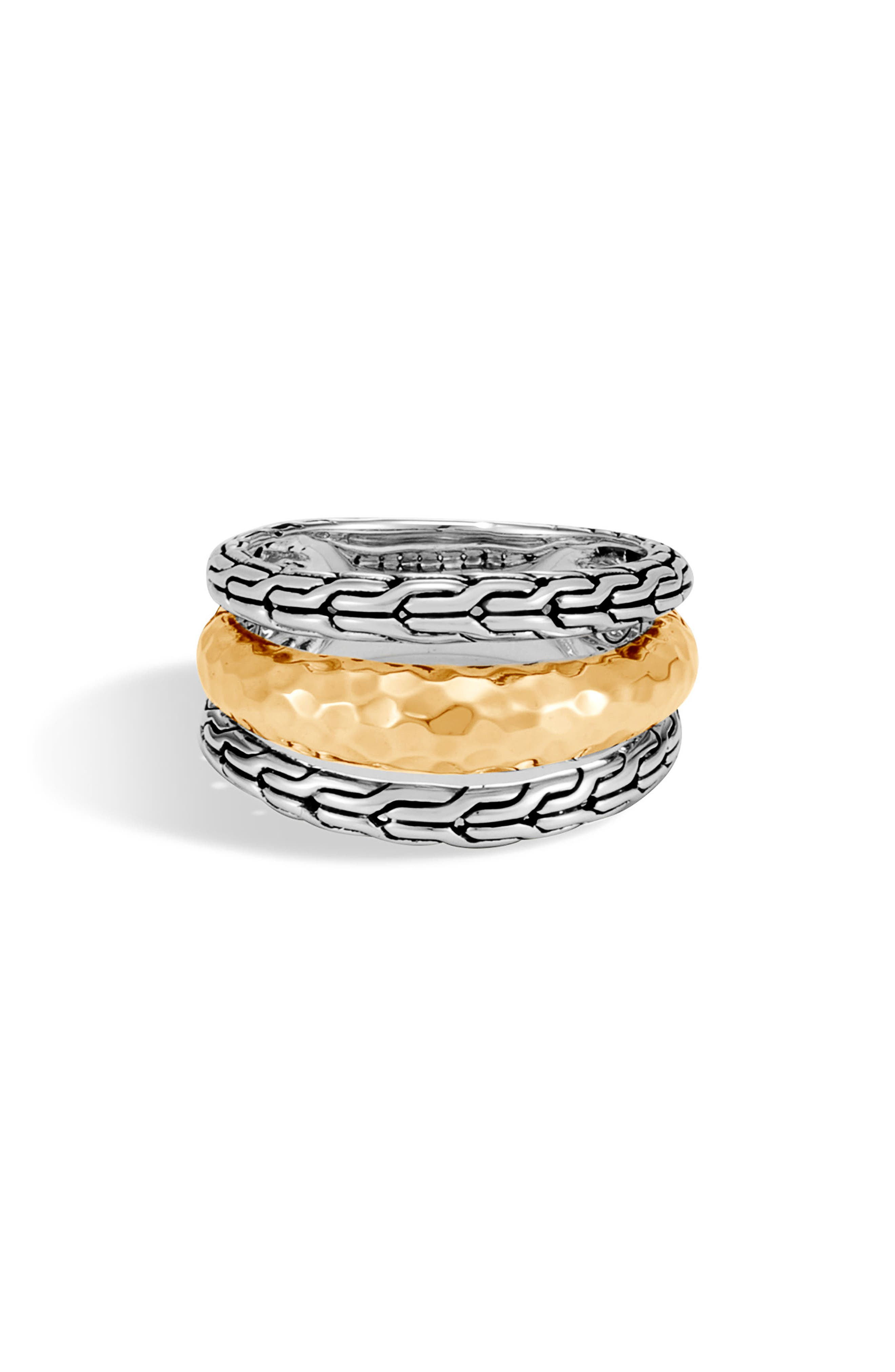 Classic Chain Hammered Ring,                             Main thumbnail 1, color,                             Silver/ Gold