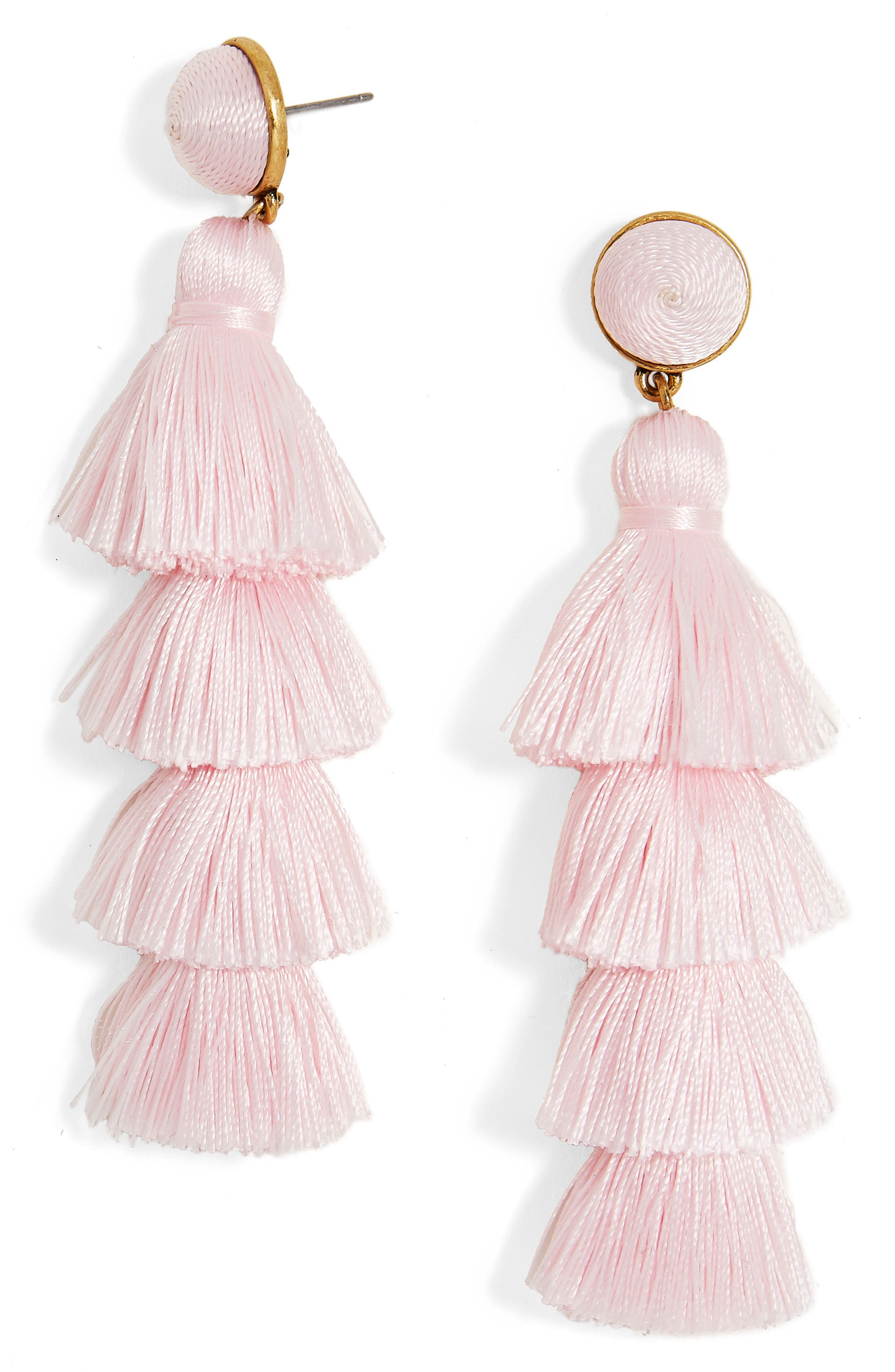 Gabriela Tassel Fringe Earrings,                         Main,                         color, Light Pink