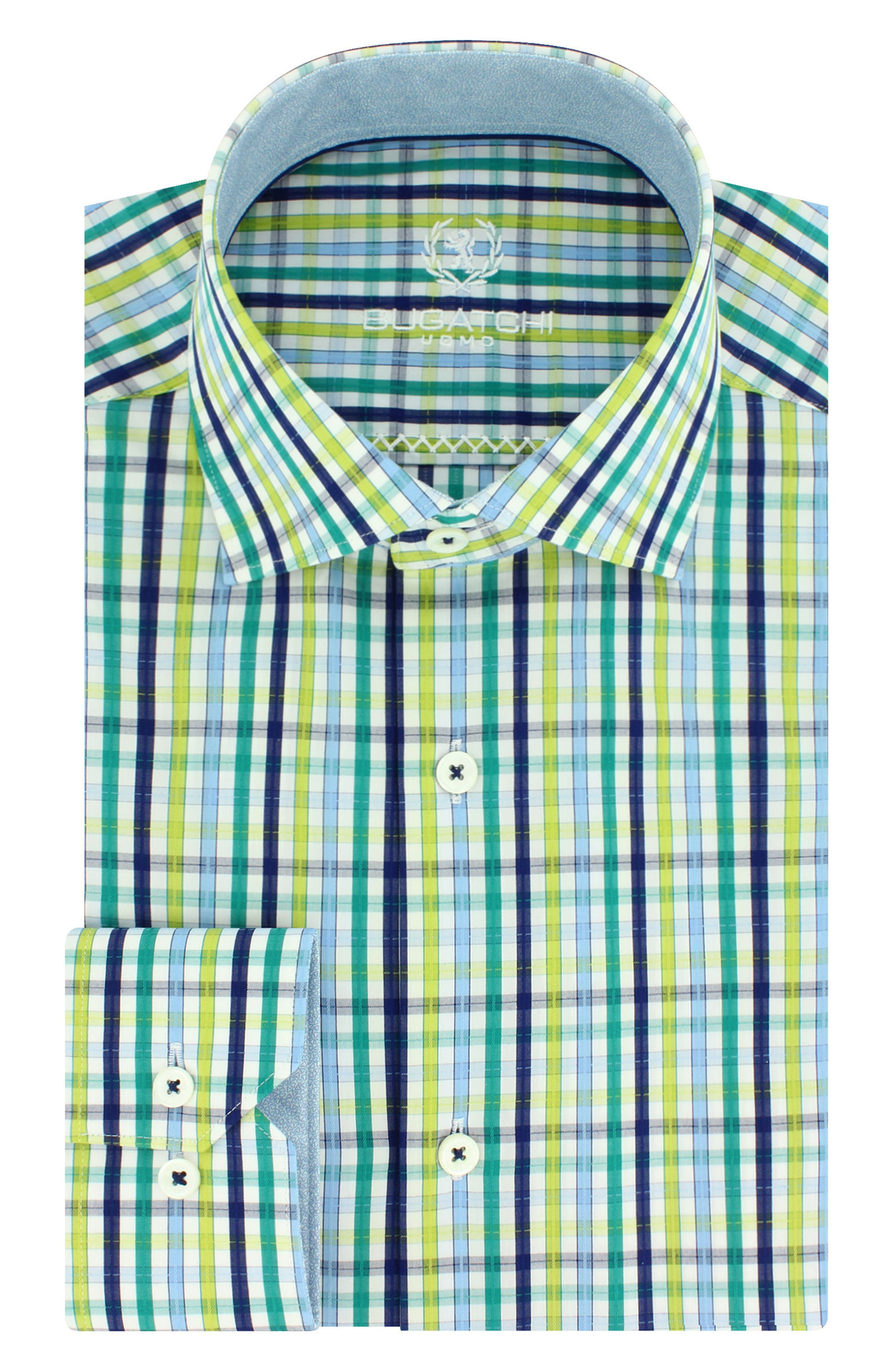 Trim Fit Plaid Dress Shirt,                         Main,                         color, Emerald