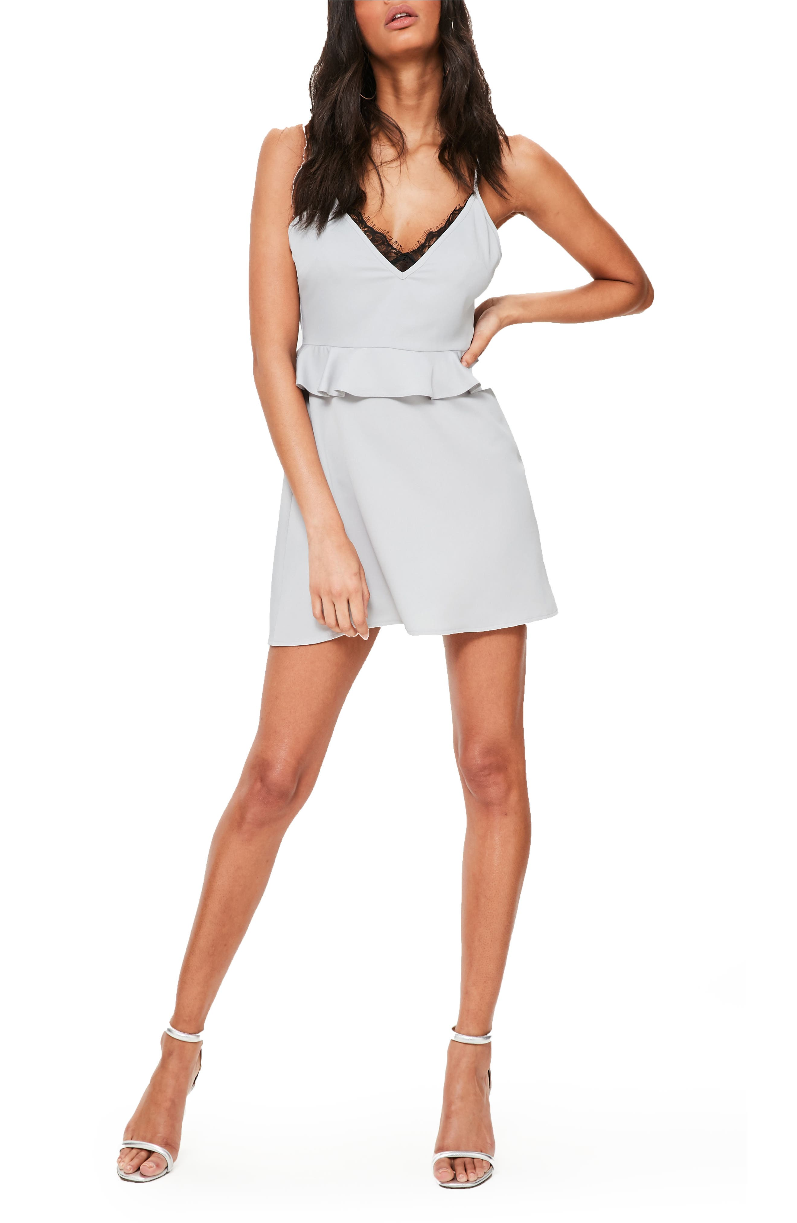 Main Image - Missguided Lace Trim Peplum Minidress