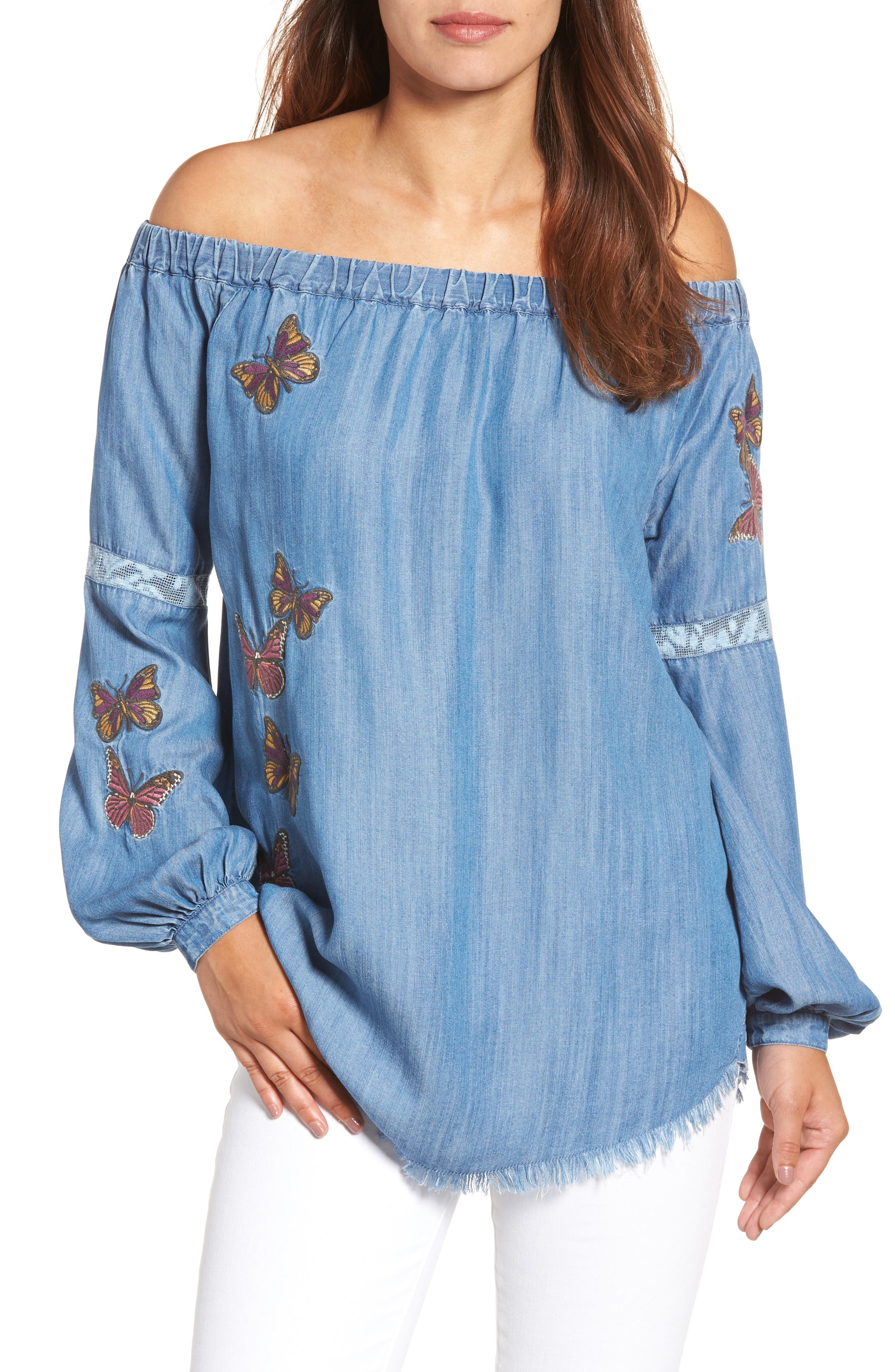 BILLY T Embroidered Off the Shoulder Top