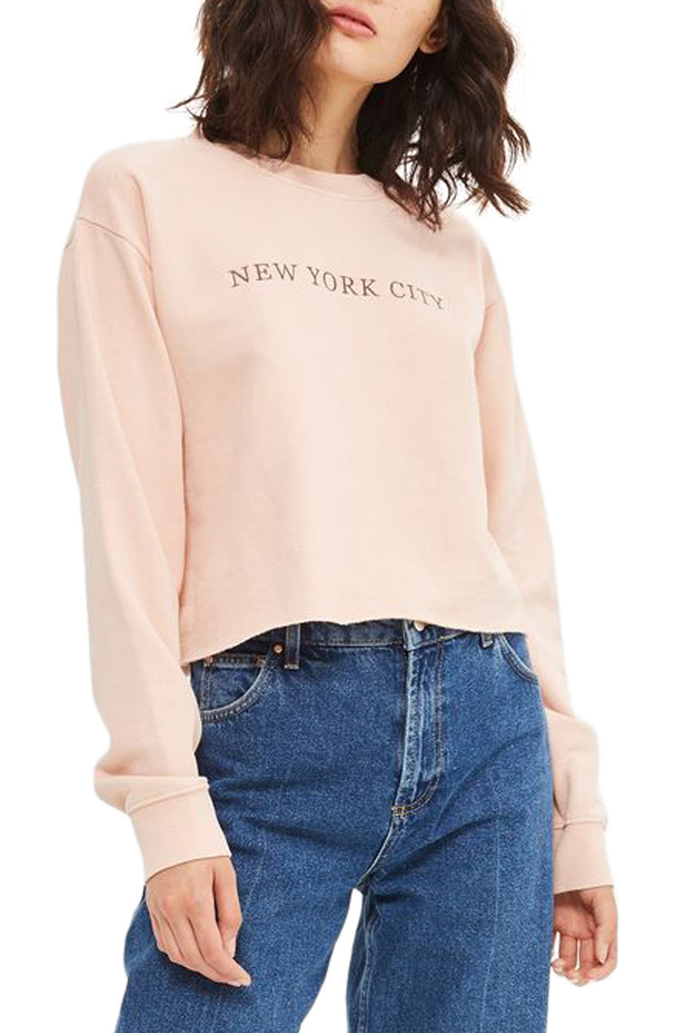 New York City Embroidered Sweatshirt,                             Main thumbnail 1, color,                             Pink