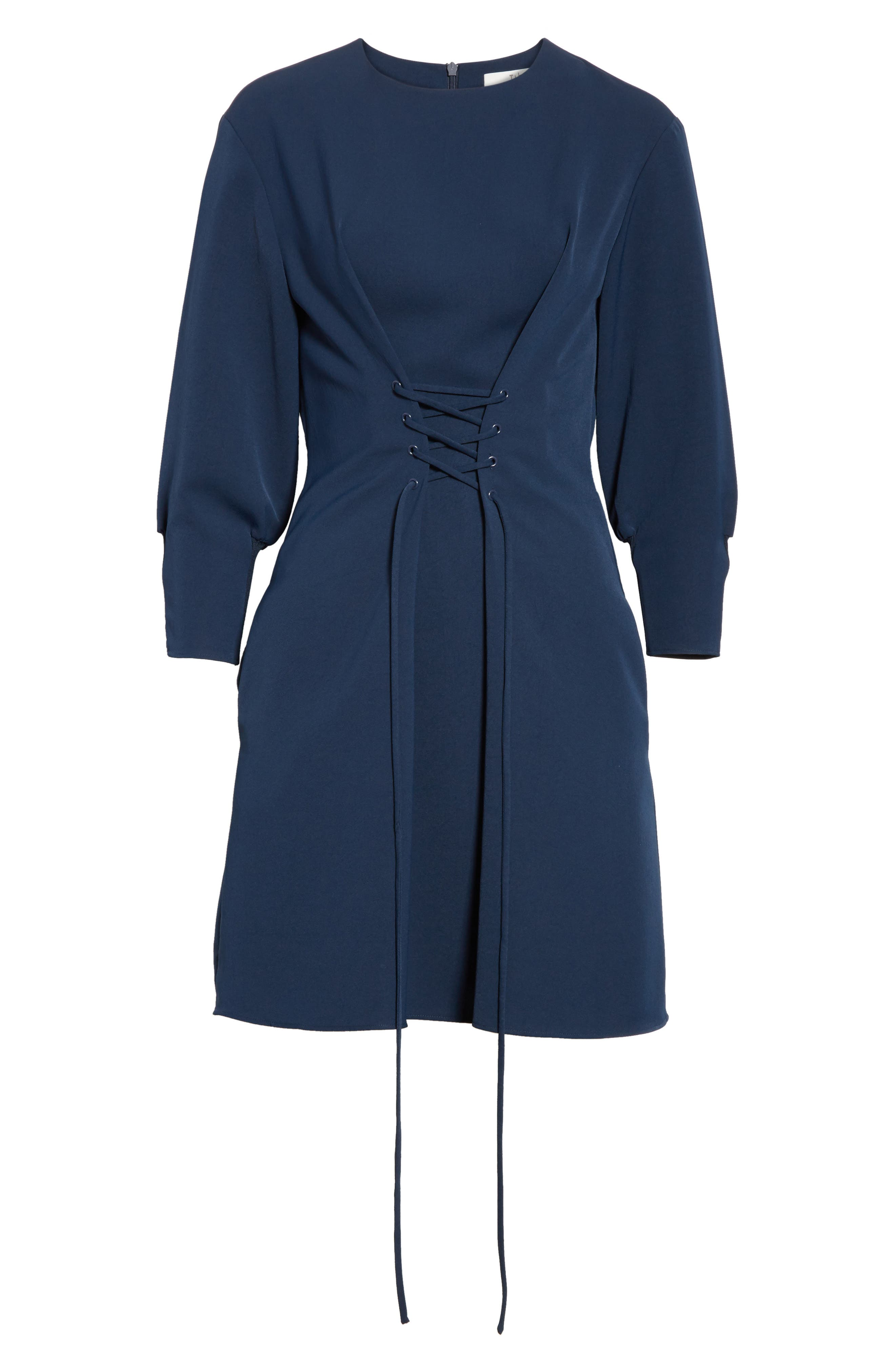 Lace-Up Draped Twill Dress,                             Alternate thumbnail 6, color,                             Navy