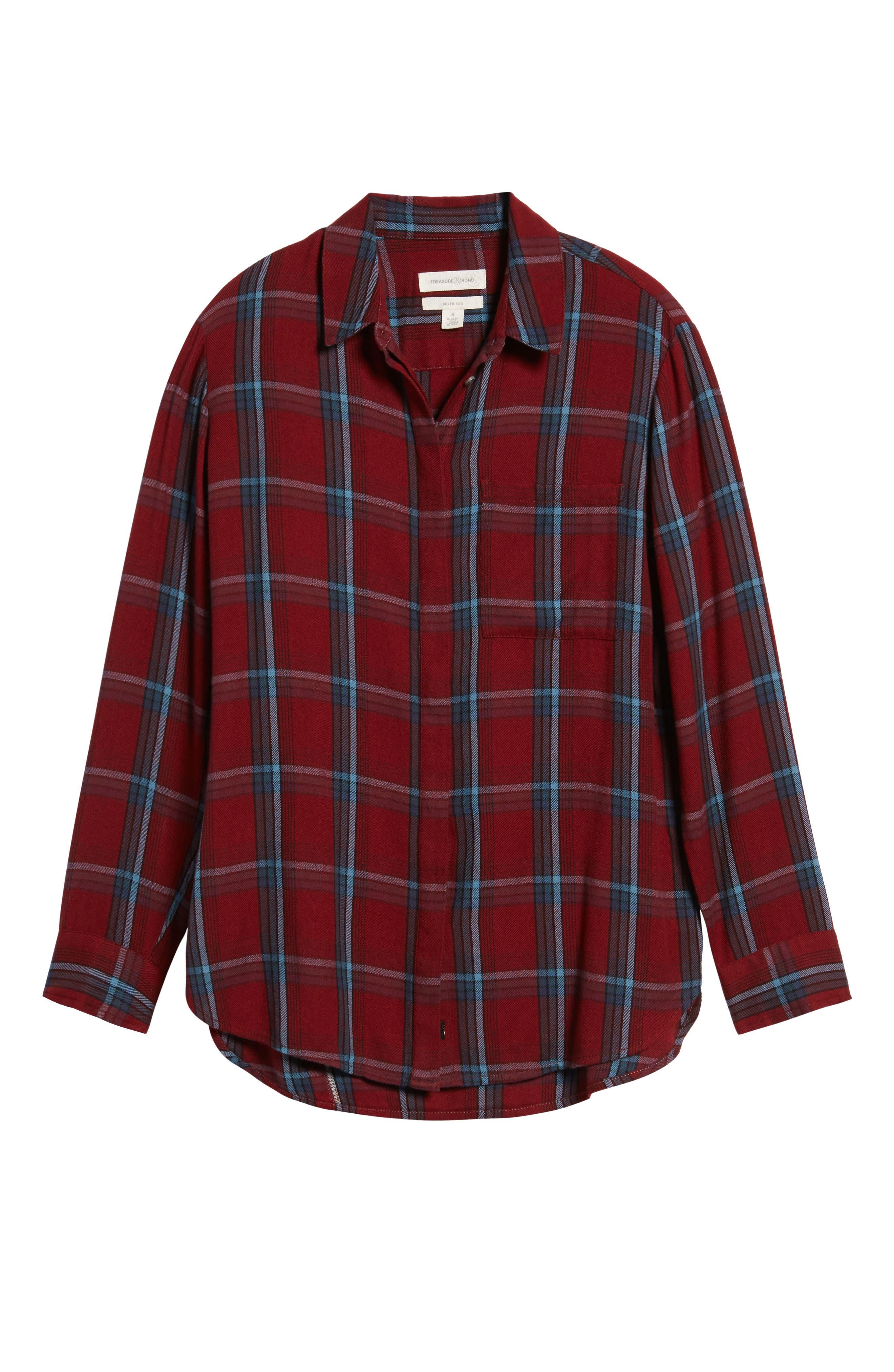 Ruffle Plaid Boyfriend Shirt,                             Alternate thumbnail 6, color,                             Red Syrah Three Box Tartan