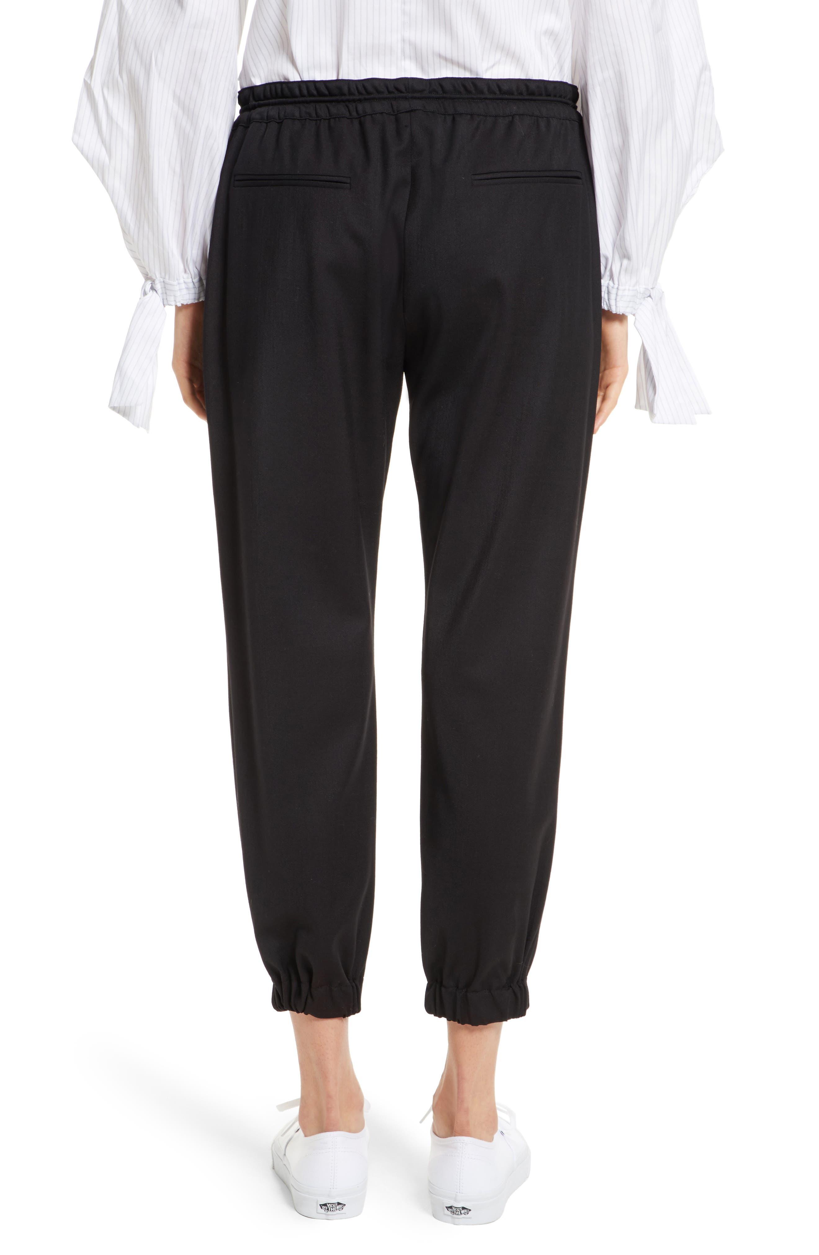 Italian Wool Gabardine Jogger Pants,                             Alternate thumbnail 3, color,                             Black