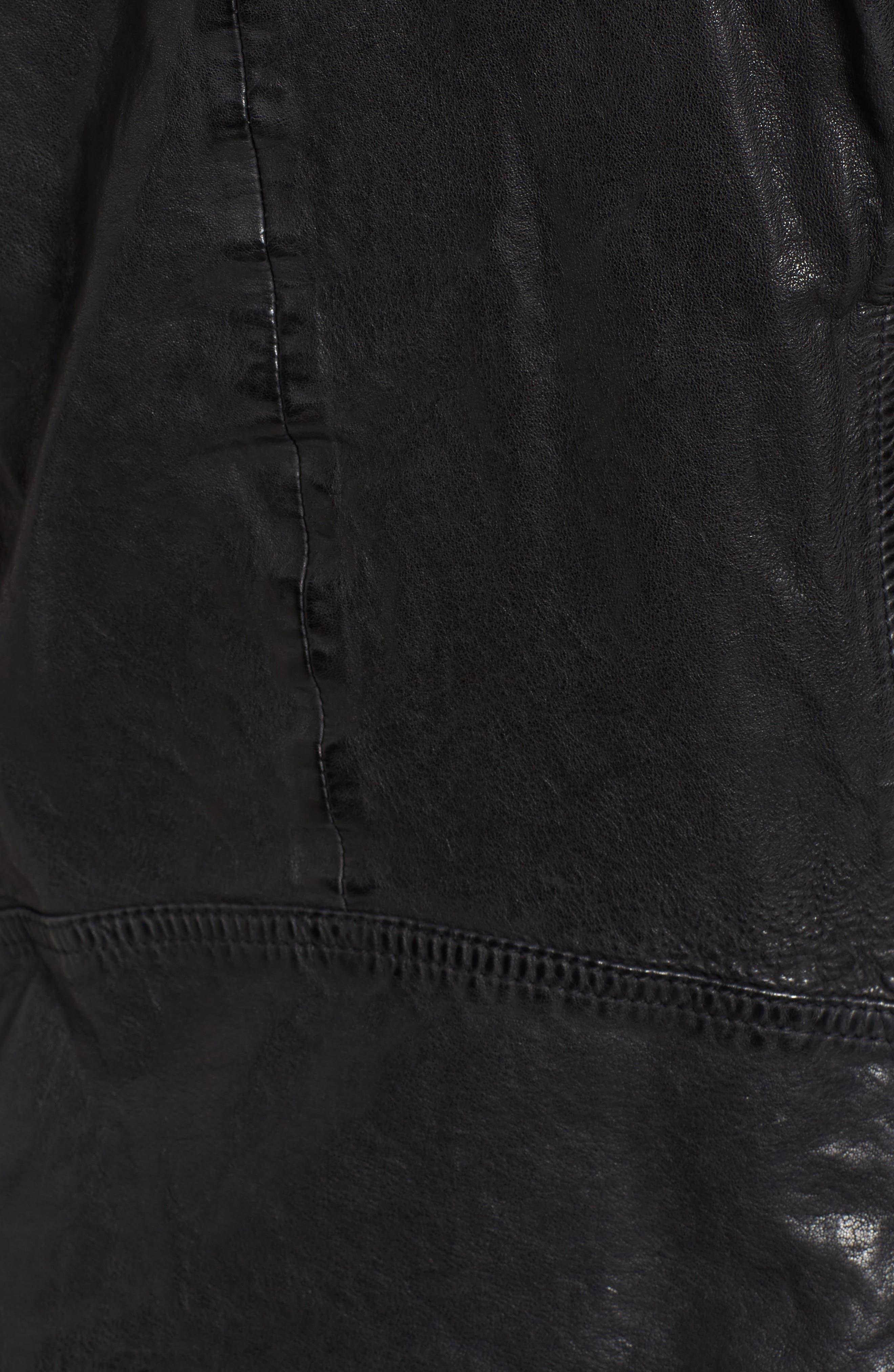 Hooded Leather Biker Jacket,                             Alternate thumbnail 5, color,                             Black