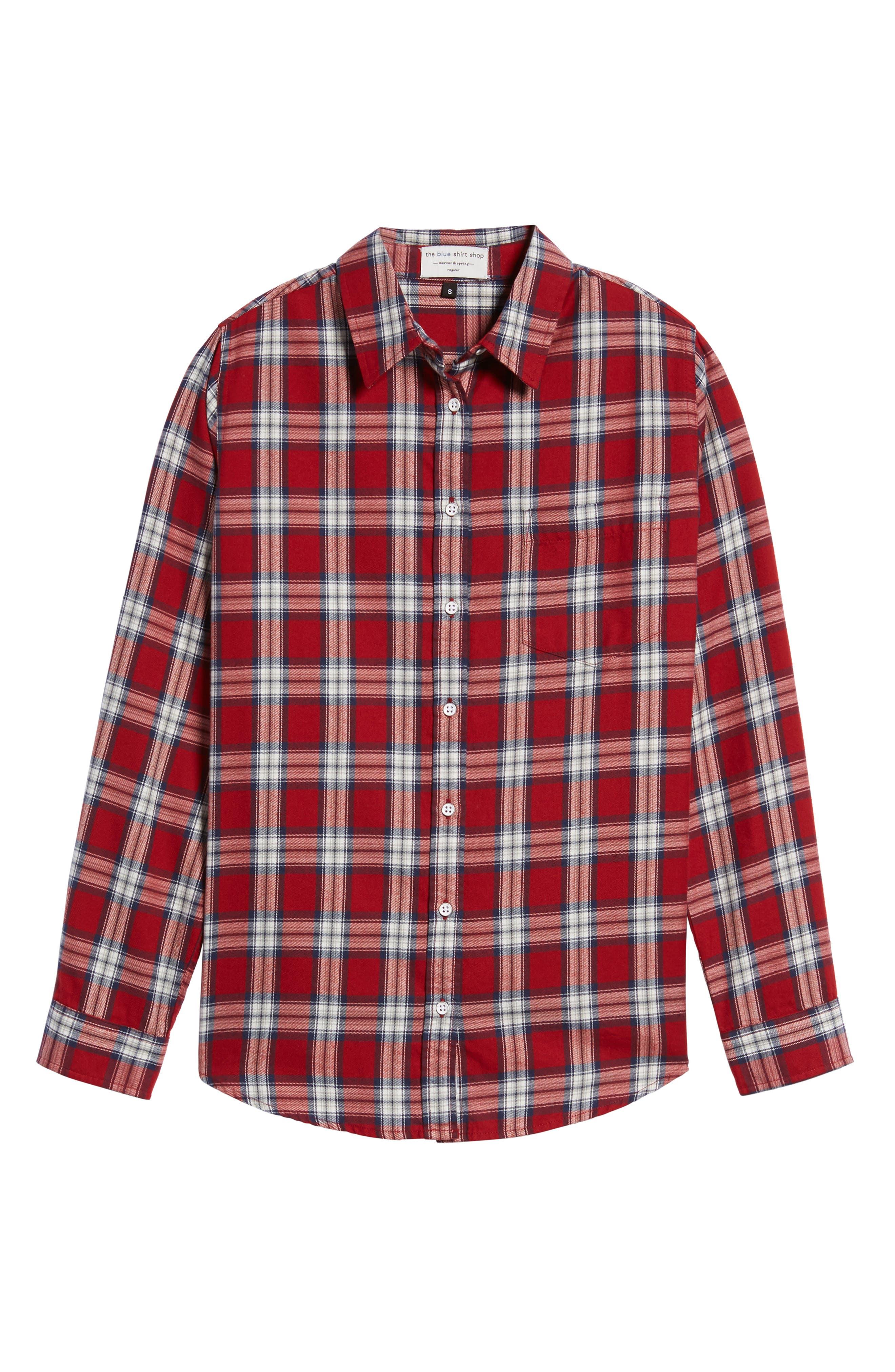 Mercer & Spring Plaid Shirt,                             Alternate thumbnail 6, color,                             Red Plaid