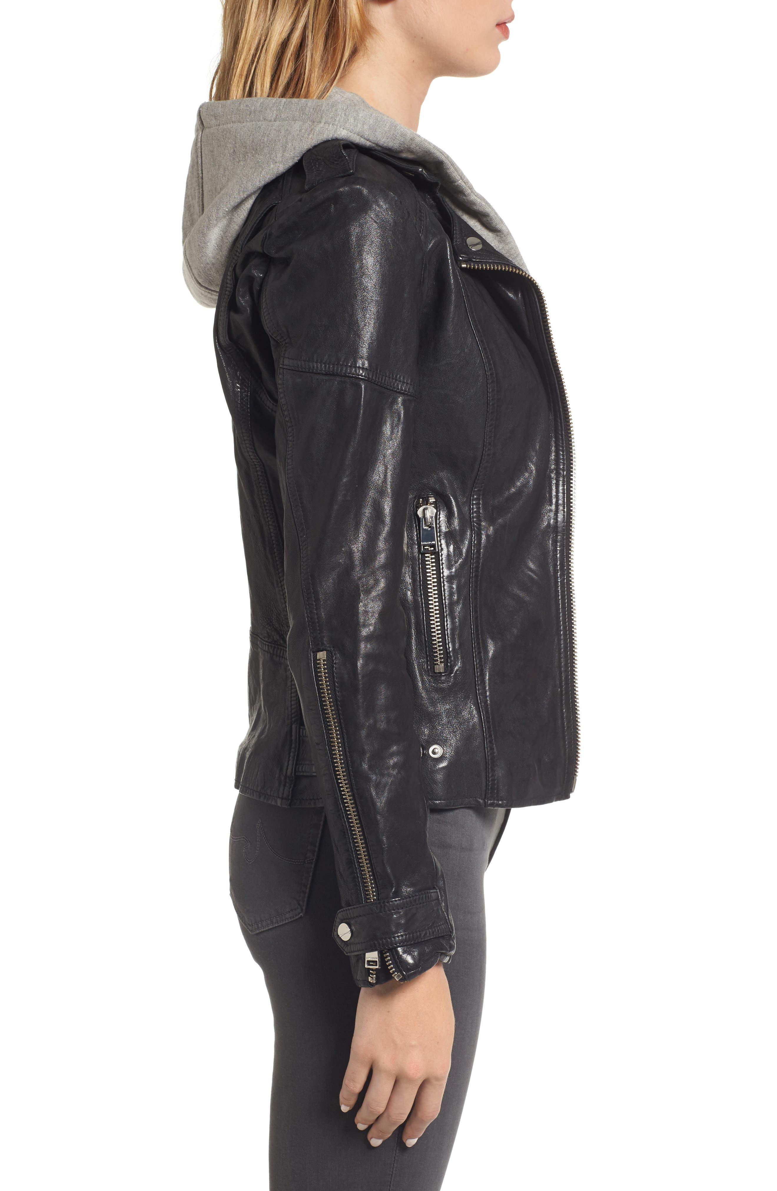 Hooded Leather Biker Jacket,                             Alternate thumbnail 3, color,                             Black