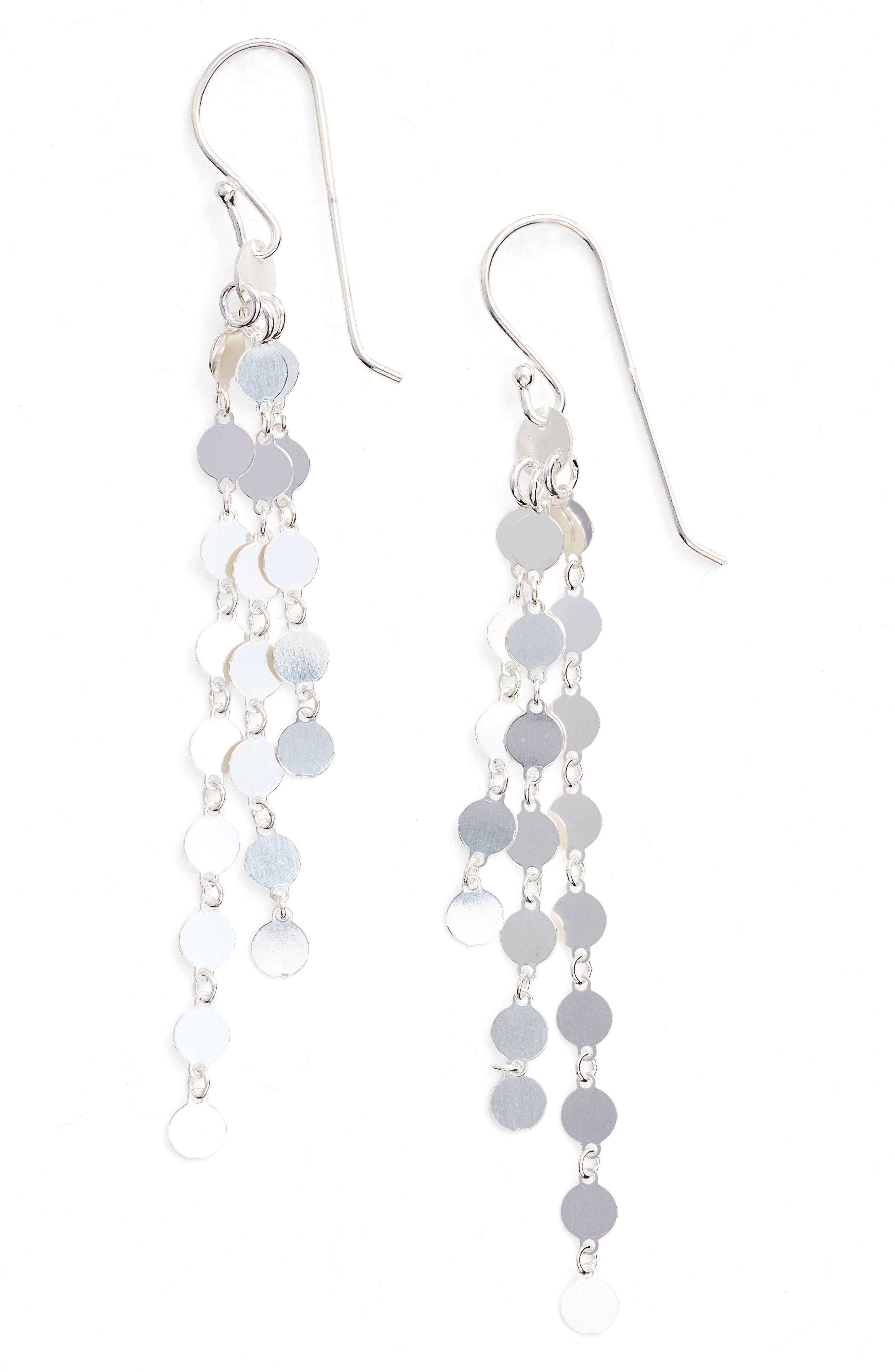 Link Drop Earrings,                             Main thumbnail 1, color,                             Silver