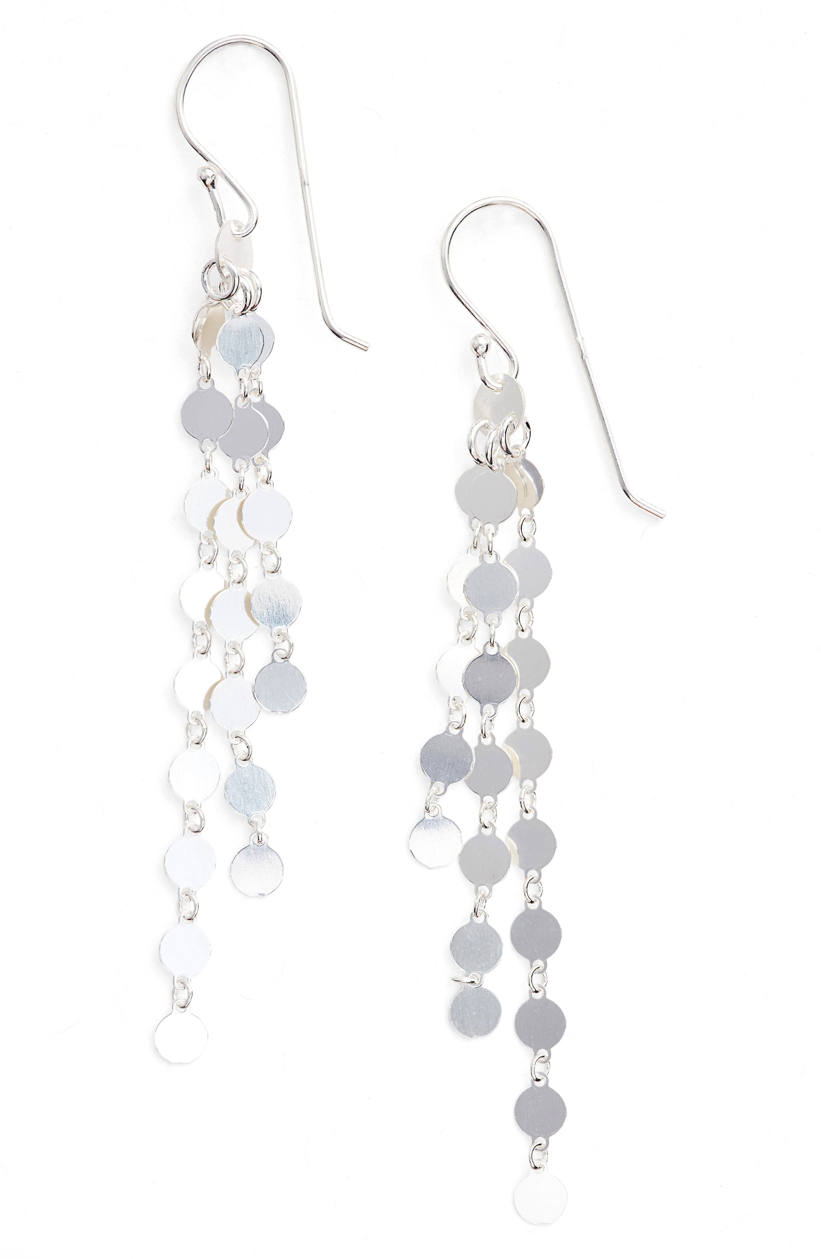 Link Drop Earrings,                         Main,                         color, Silver