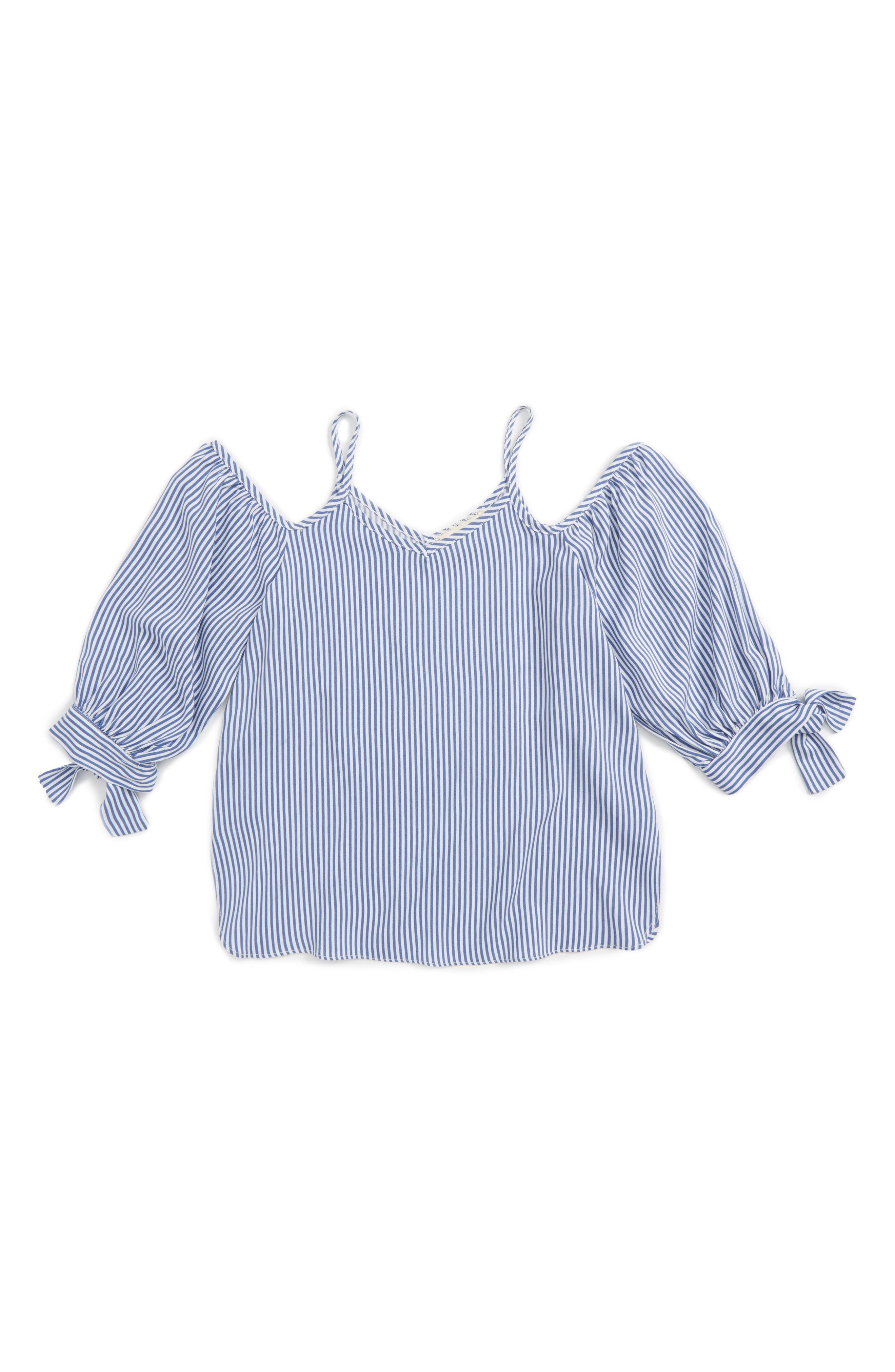 SOPRANO Stripe Cold Shoulder Top
