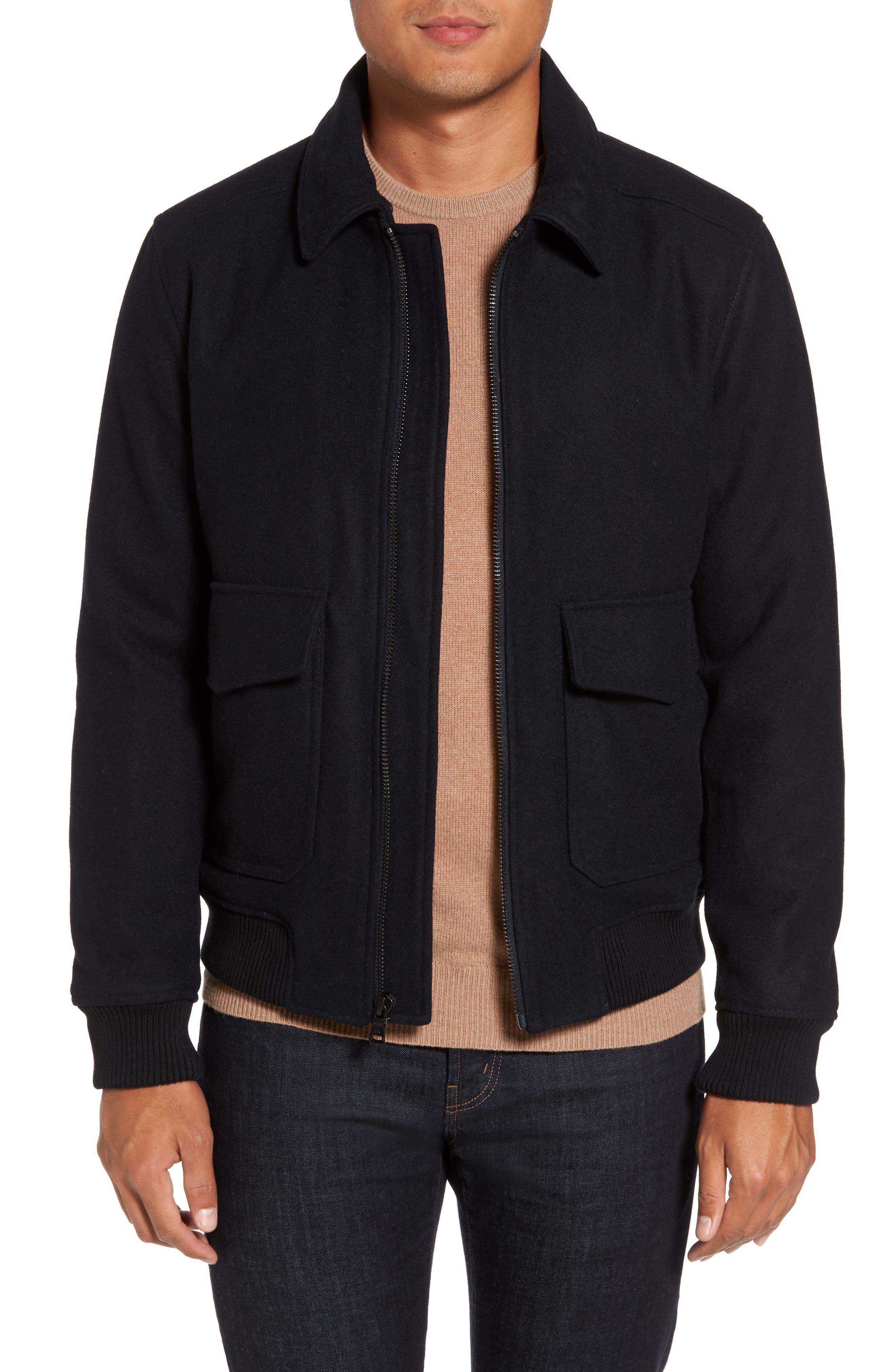Fleece Collar Wool Blend A-2 Jacket,                             Alternate thumbnail 4, color,                             Officer Navy