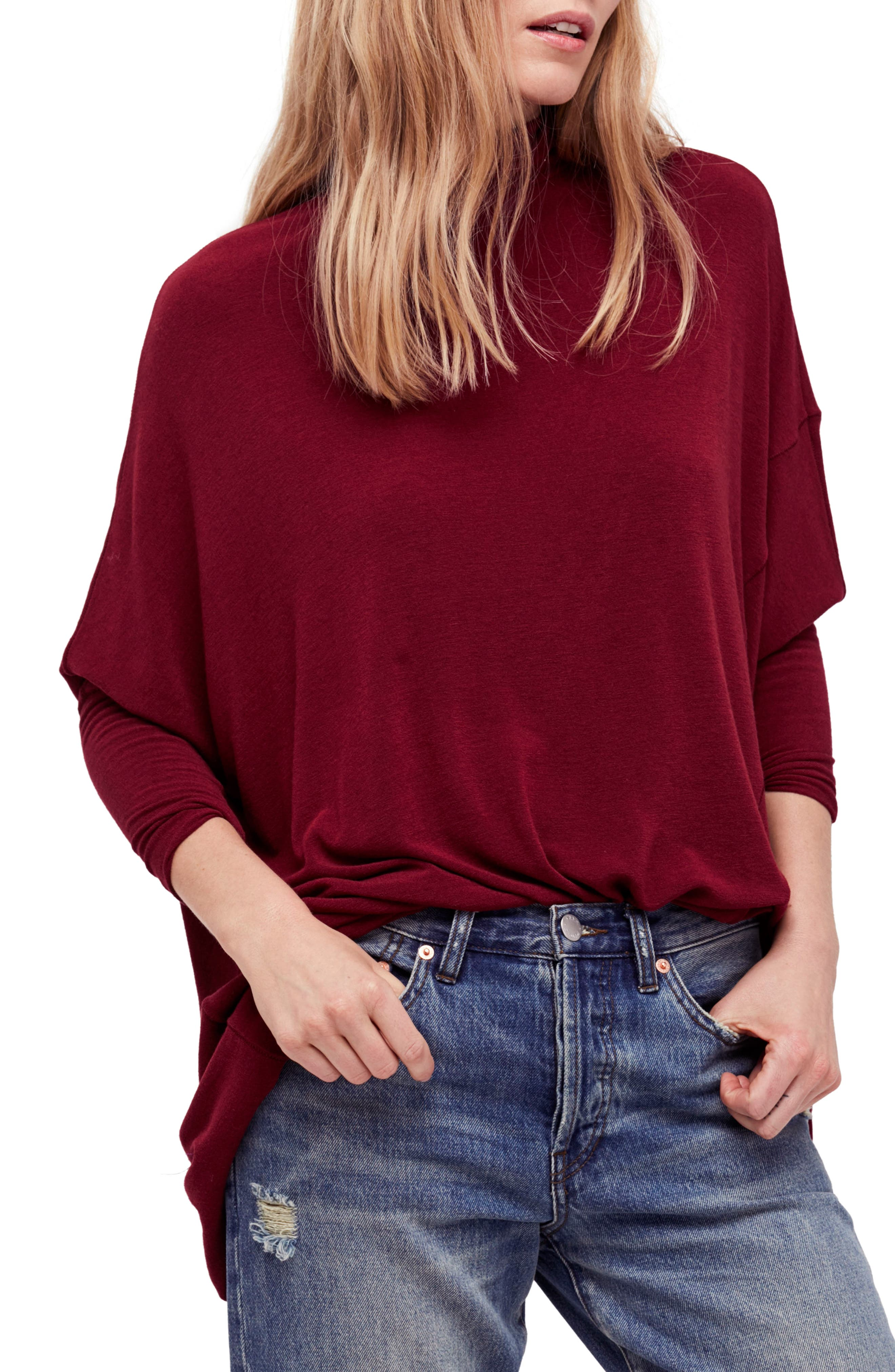 We the Free Terry Turtleneck,                         Main,                         color, Wine