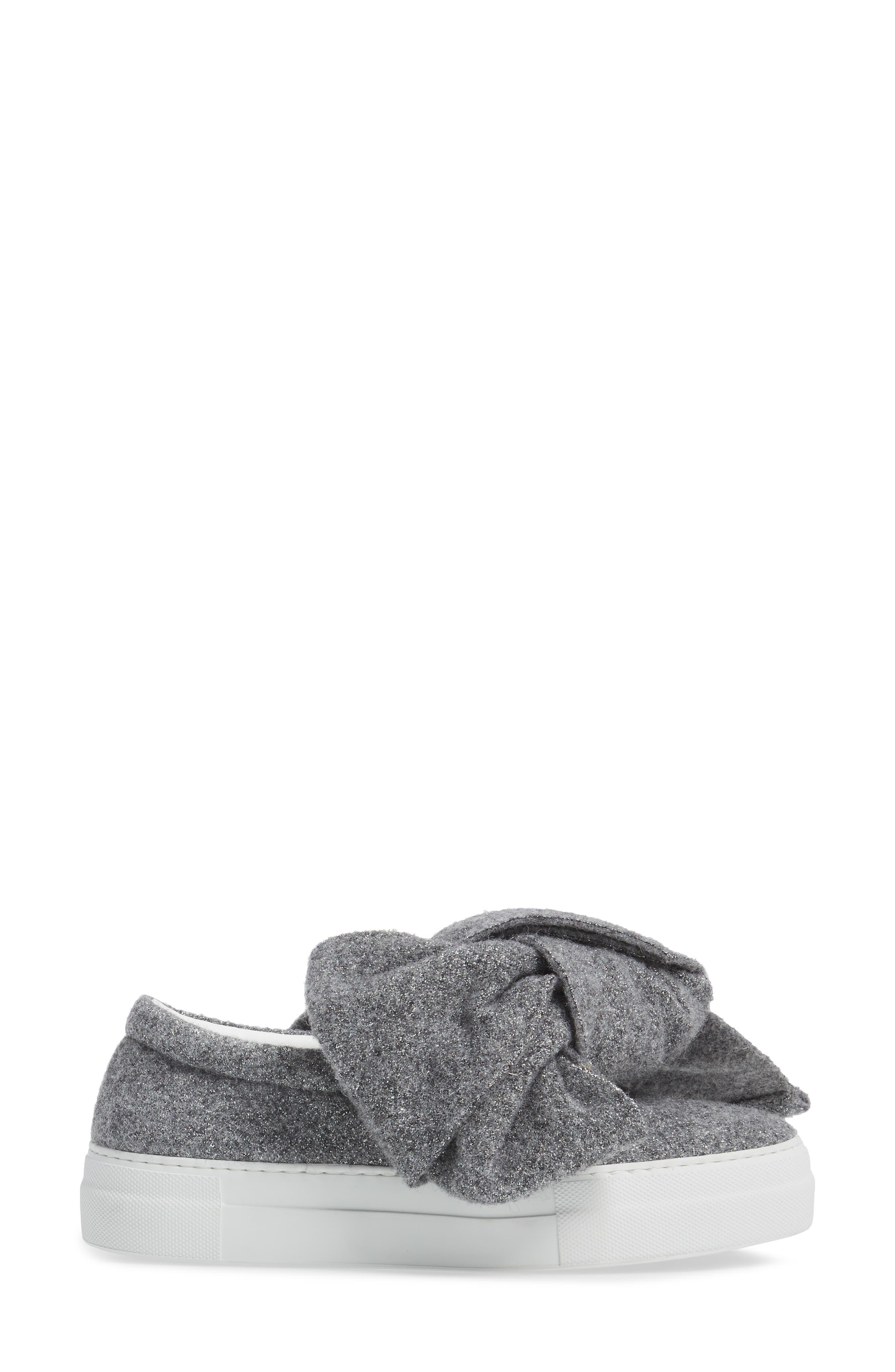 Bow Slip-On Sneaker,                             Alternate thumbnail 3, color,                             Grey Lurex Felt