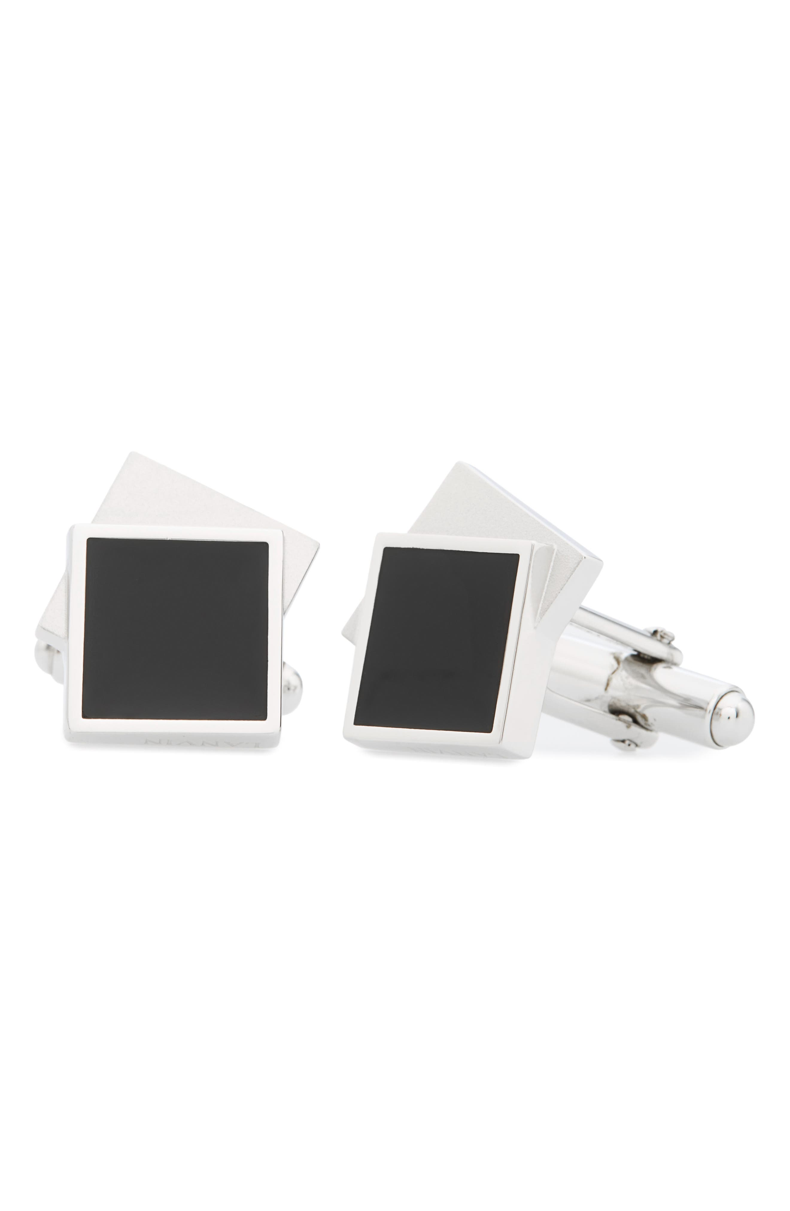 Two-Tone Square Cuff Links,                         Main,                         color, Rhodium Plated