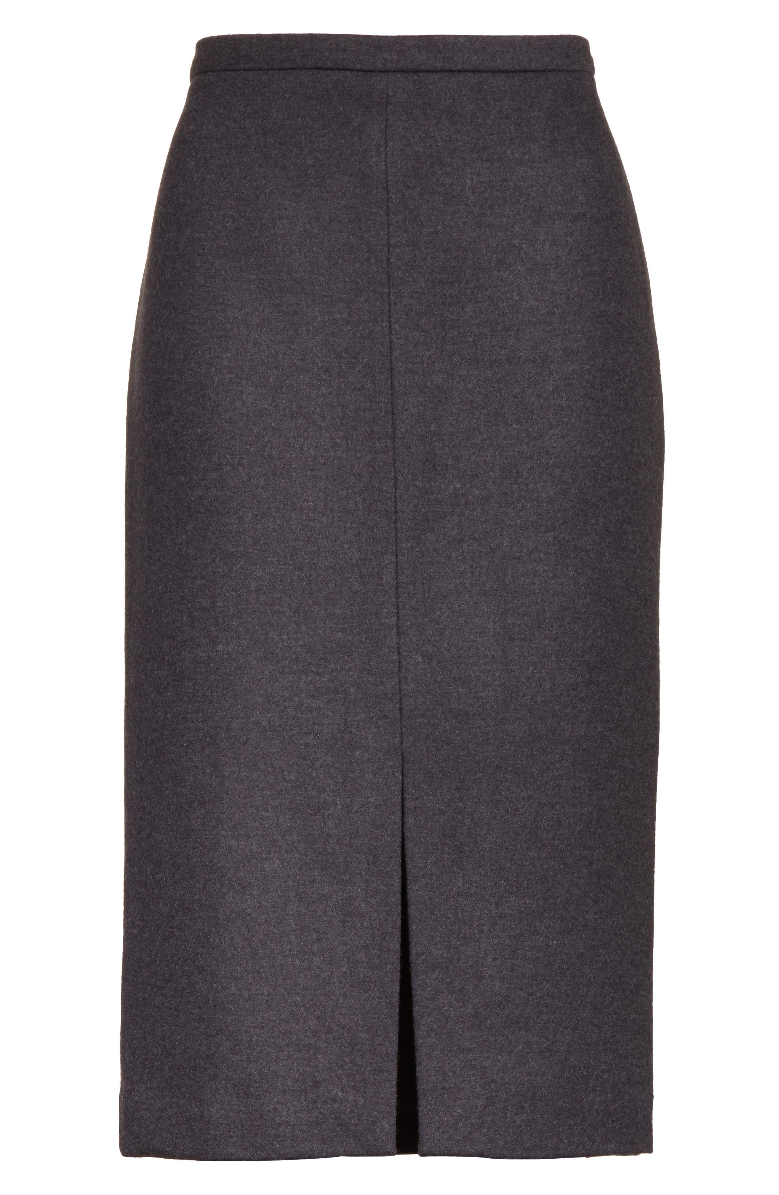 Nanna Leather Trim Wool Pencil Skirt,                             Alternate thumbnail 6, color,                             Dark Grey