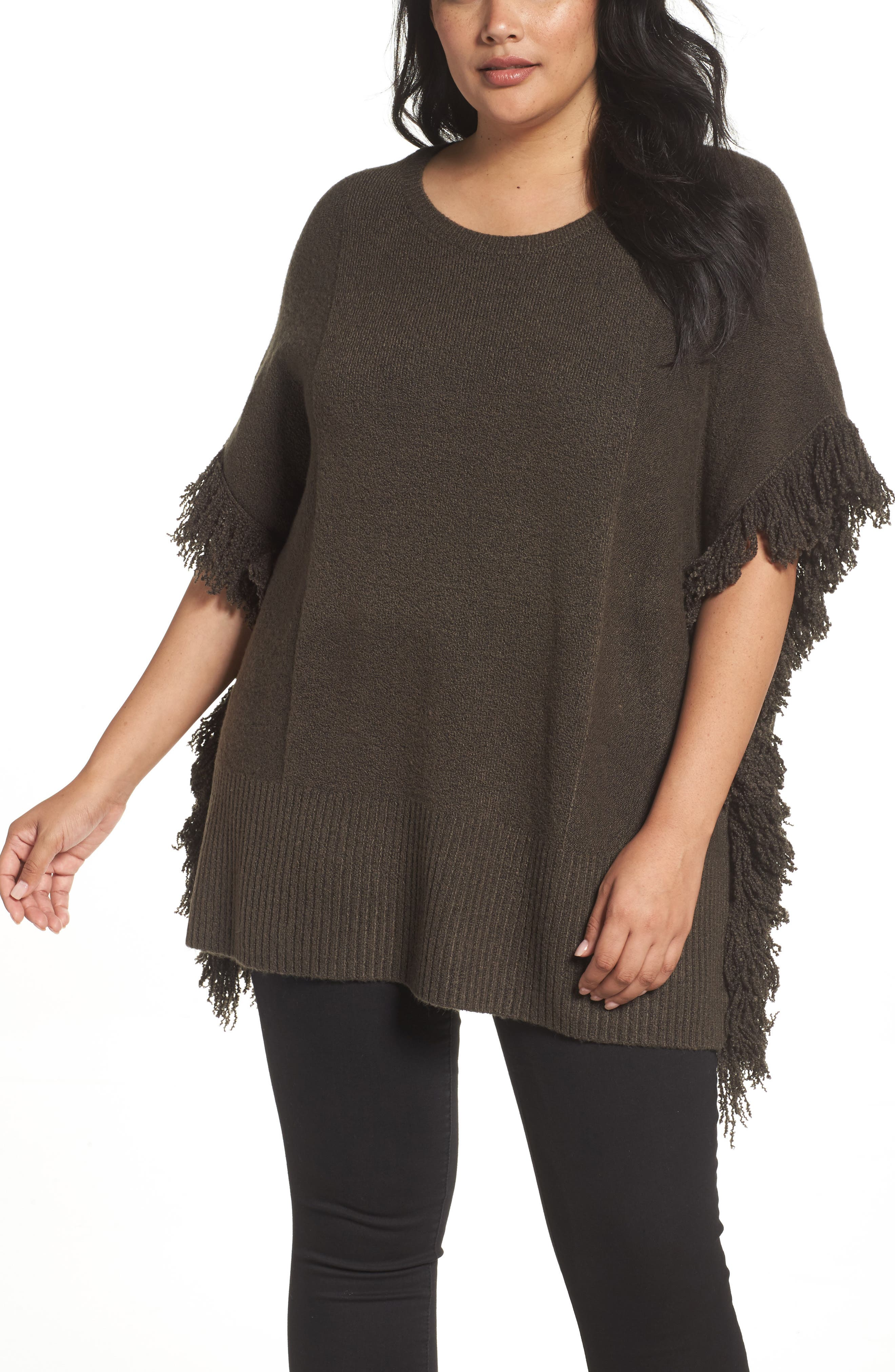 Fringe Poncho Sweater,                         Main,                         color, Olive