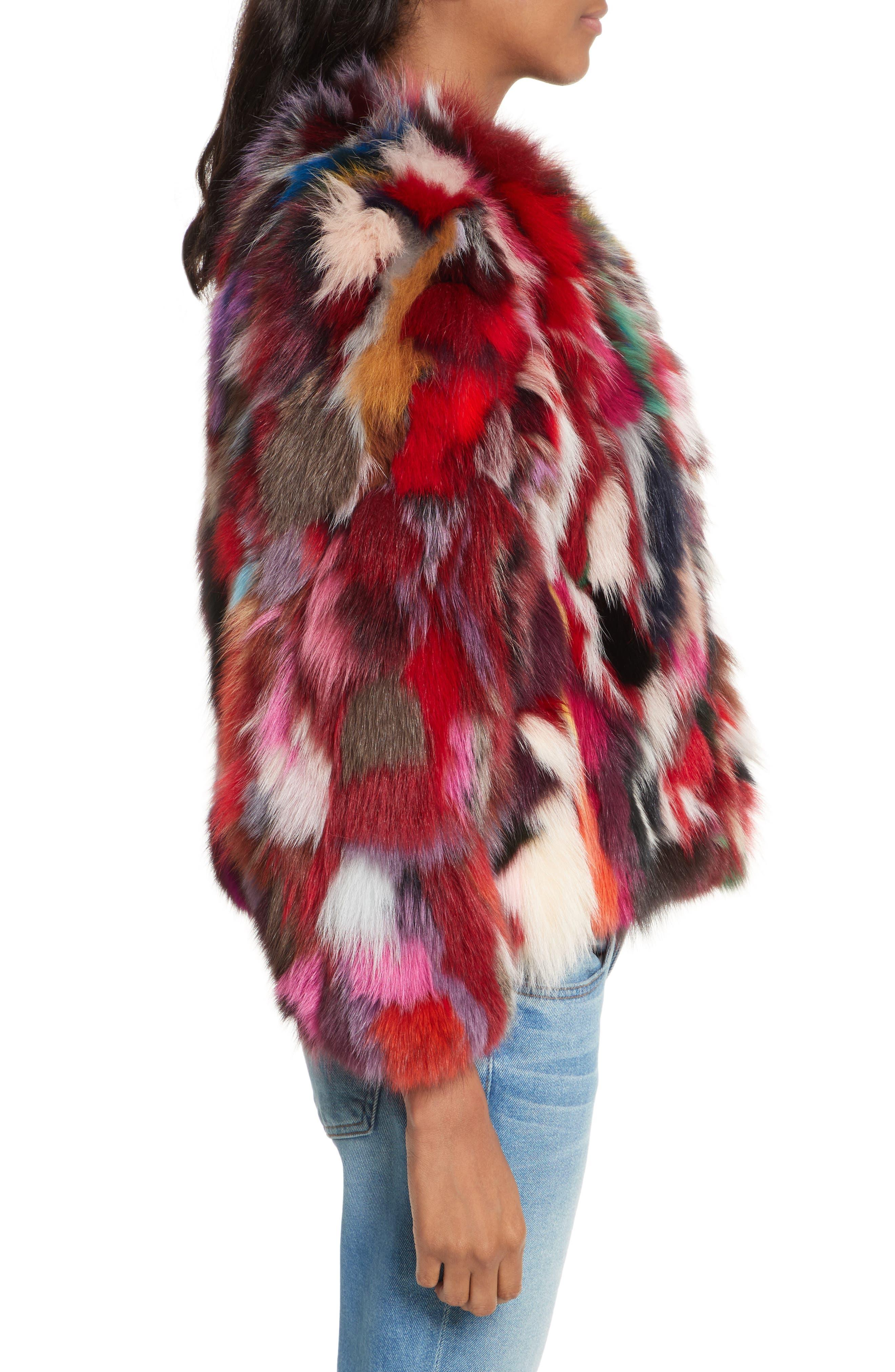 Rachel Genuine Fox Fur Jacket,                             Alternate thumbnail 3, color,                             Multi