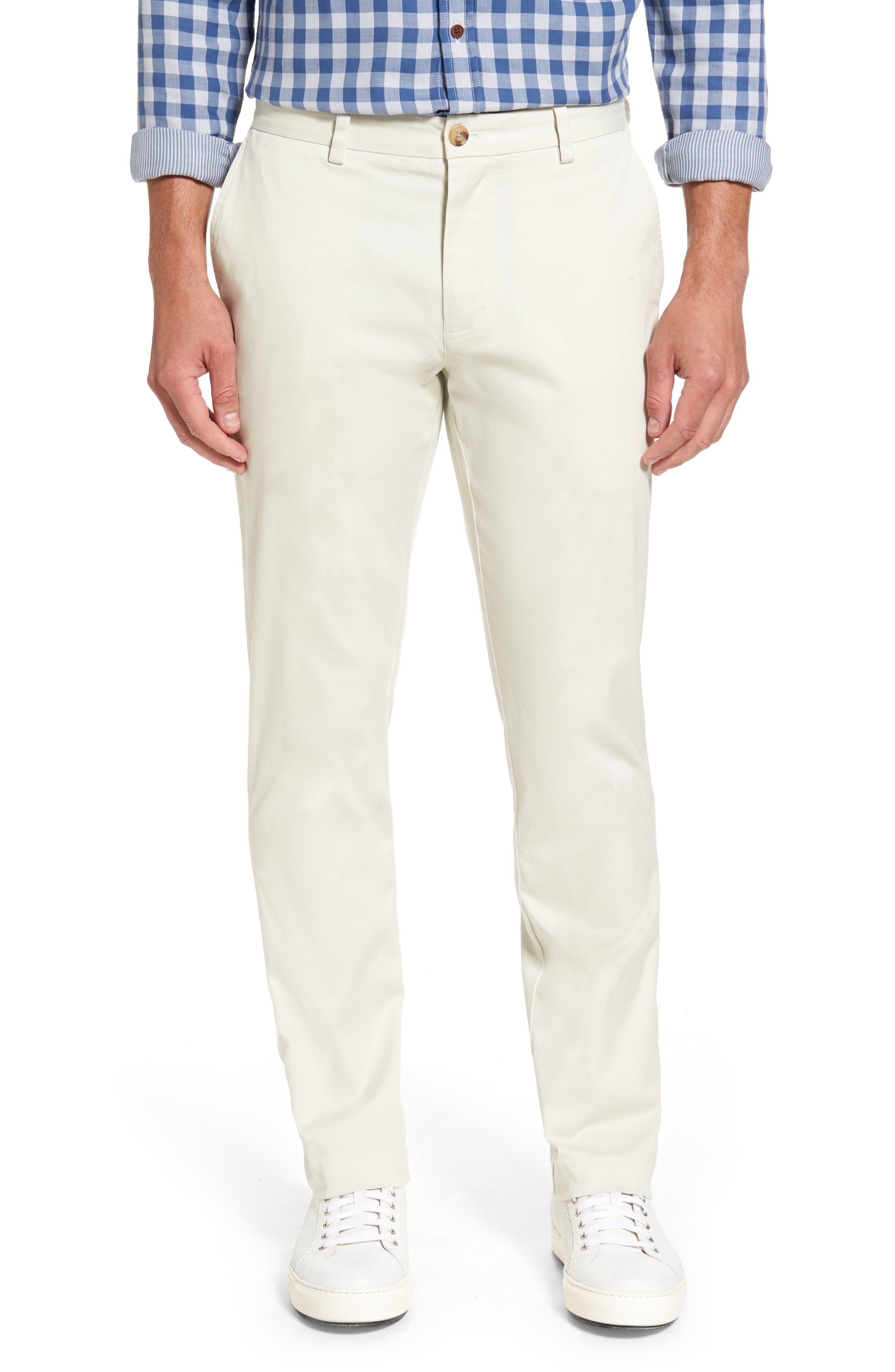 Breaker Flat Front Stretch Cotton Pants,                         Main,                         color, Stone
