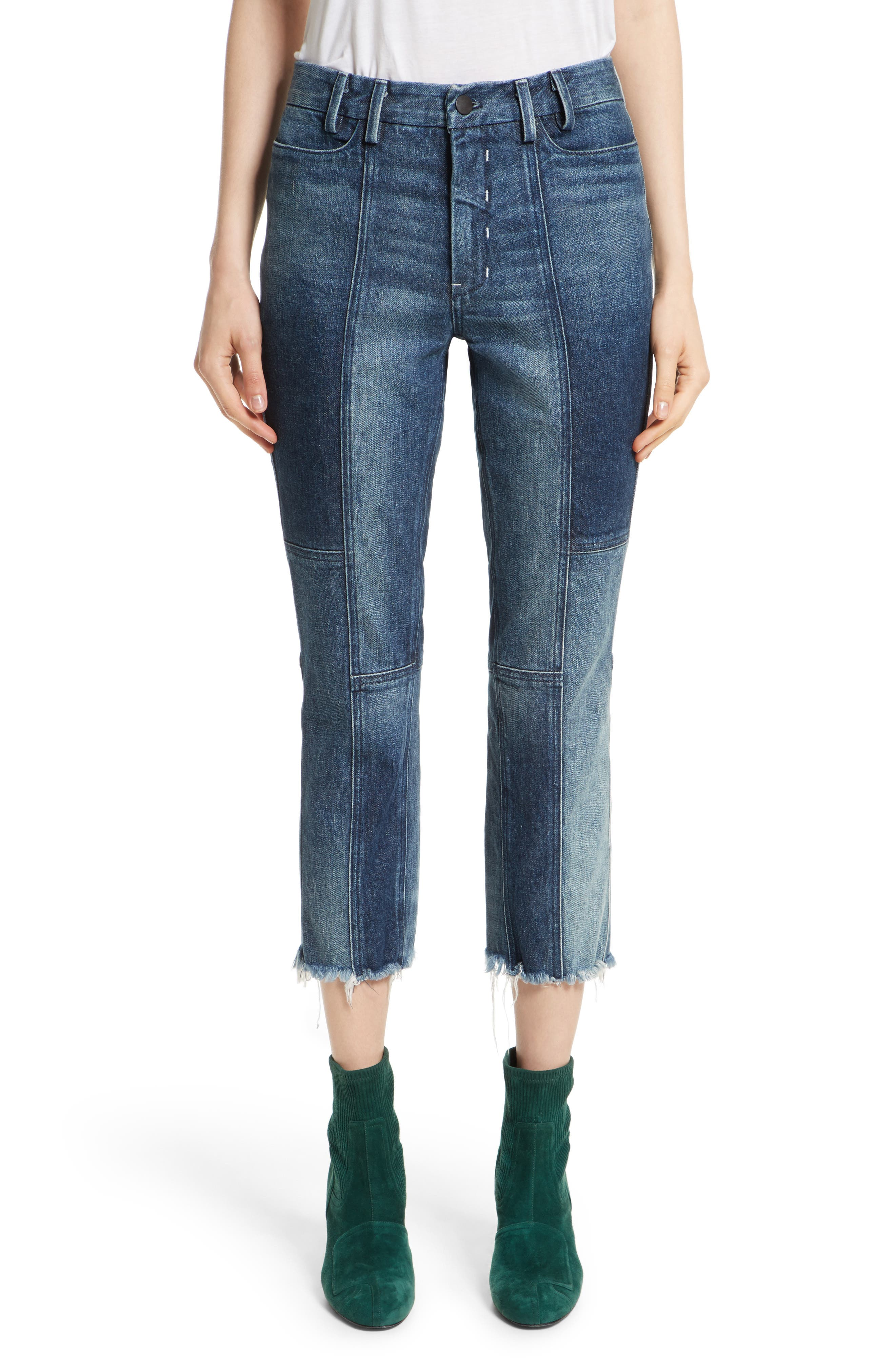 Frayed Seamed Crop Jeans,                         Main,                         color, Navy