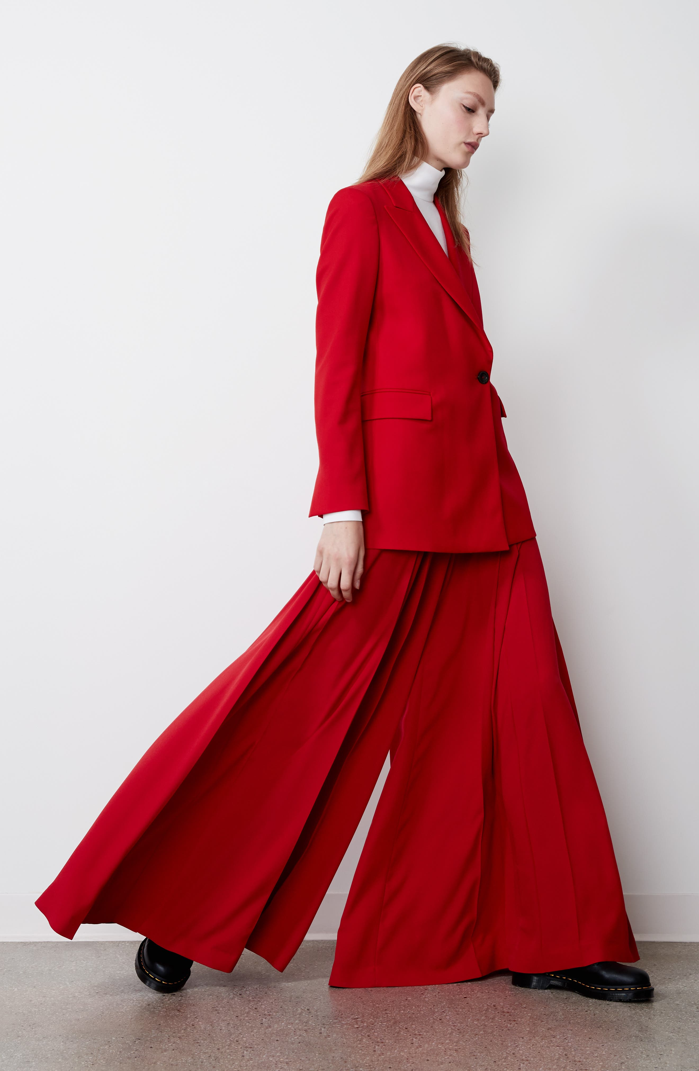Stretch Wool Blazer,                             Alternate thumbnail 10, color,                             Red